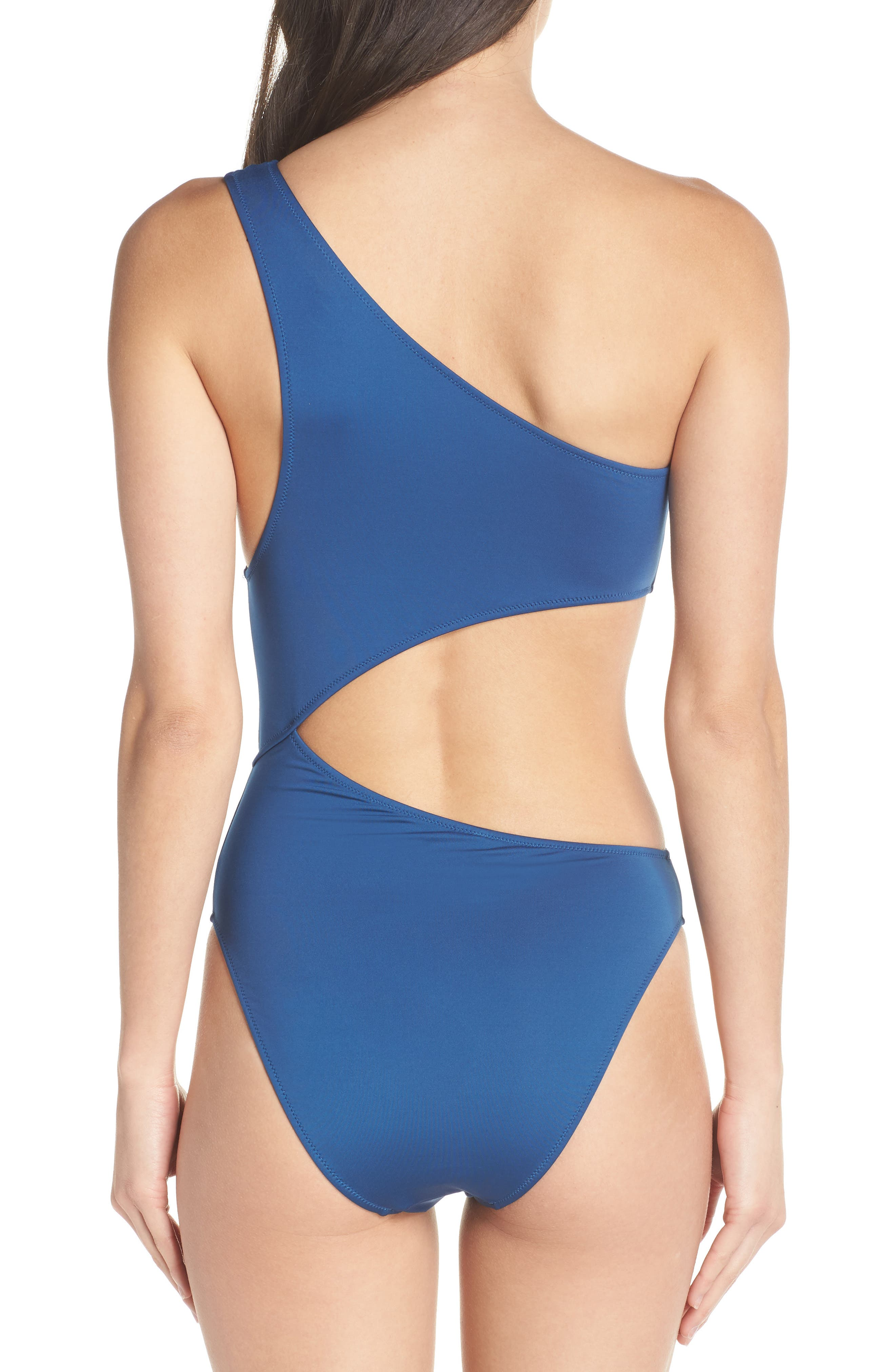 Playa Tilden One-Shoulder One-Piece Swimsuit,                             Alternate thumbnail 2, color,                             Pacific Ocean