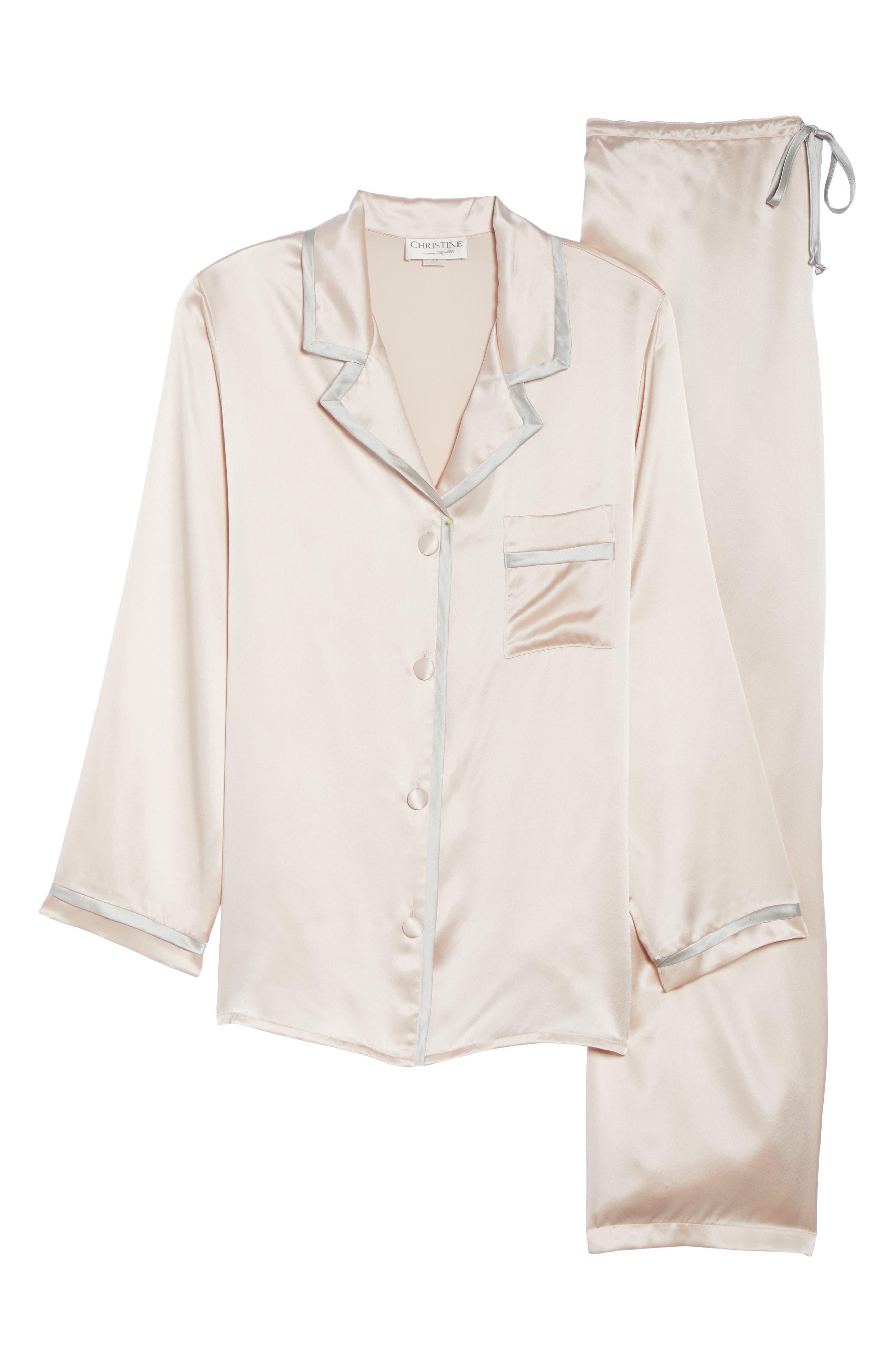 Coco Silk Pajamas,                             Alternate thumbnail 4, color,                             Rose Quartz / Antique Silver