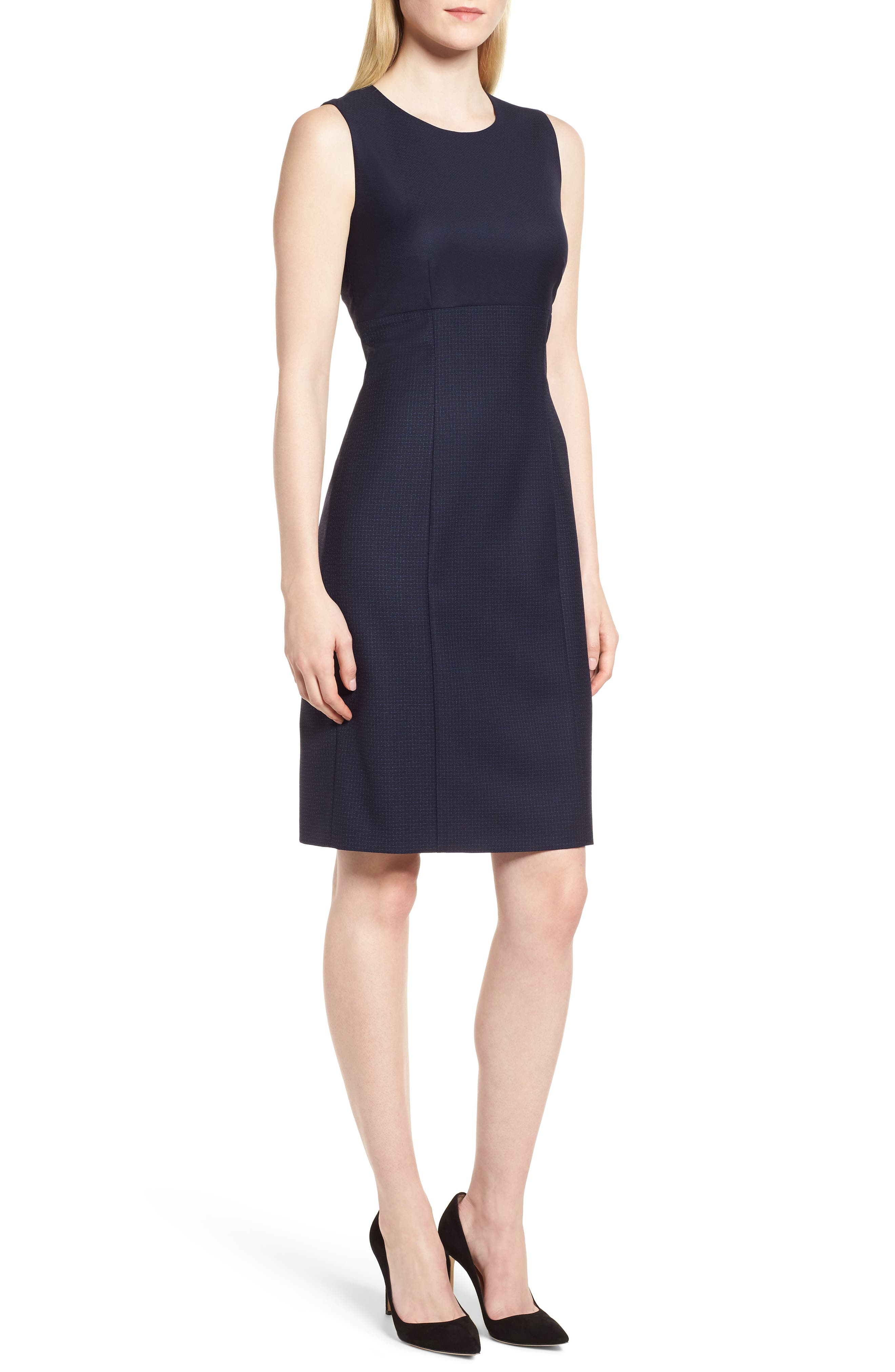 Dibena Windowpane Sheath Dress,                         Main,                         color, Blue Fantasy