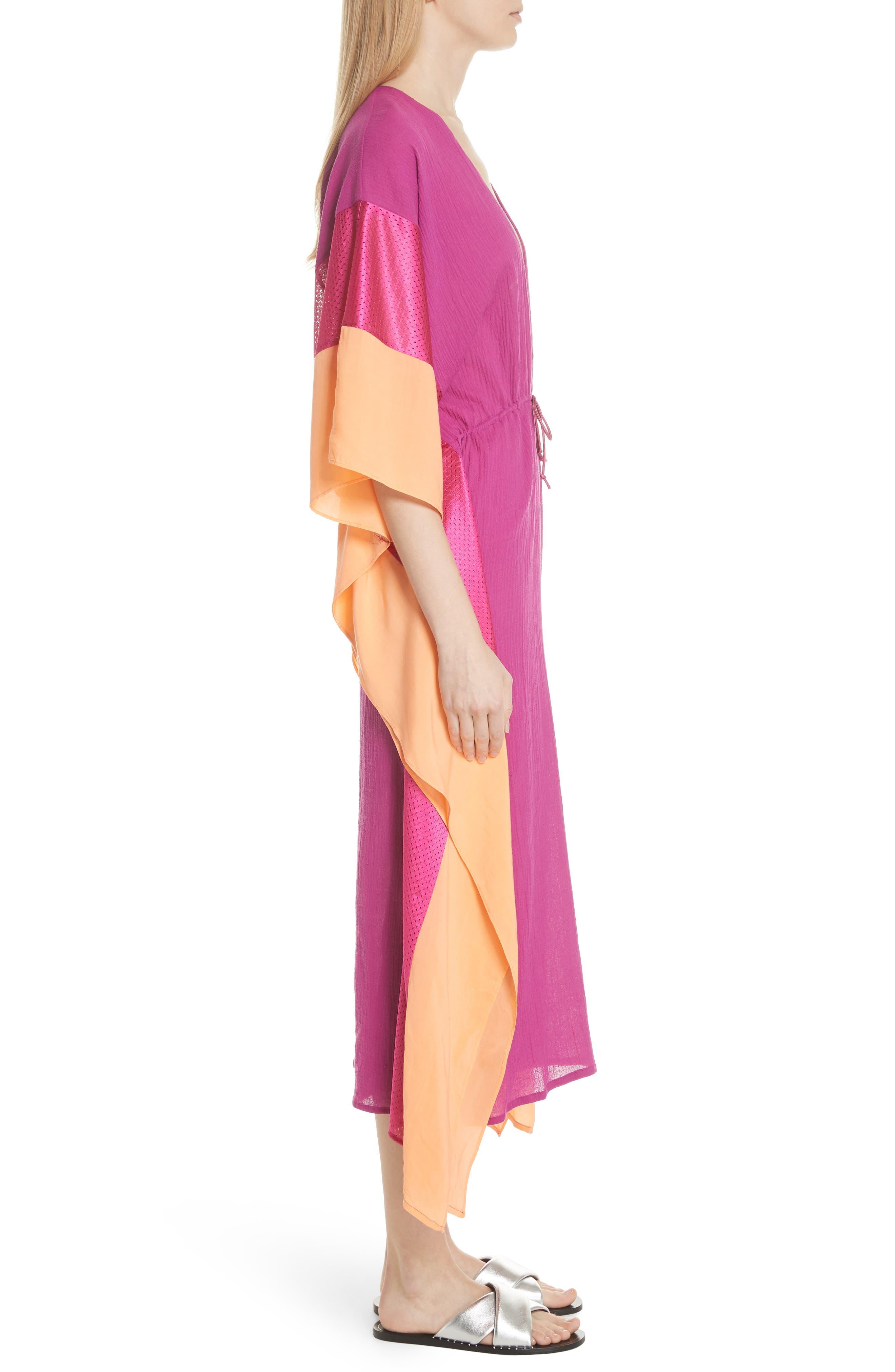 Sun Dance Caftan Dress,                             Alternate thumbnail 3, color,                             Magenta/ Orange