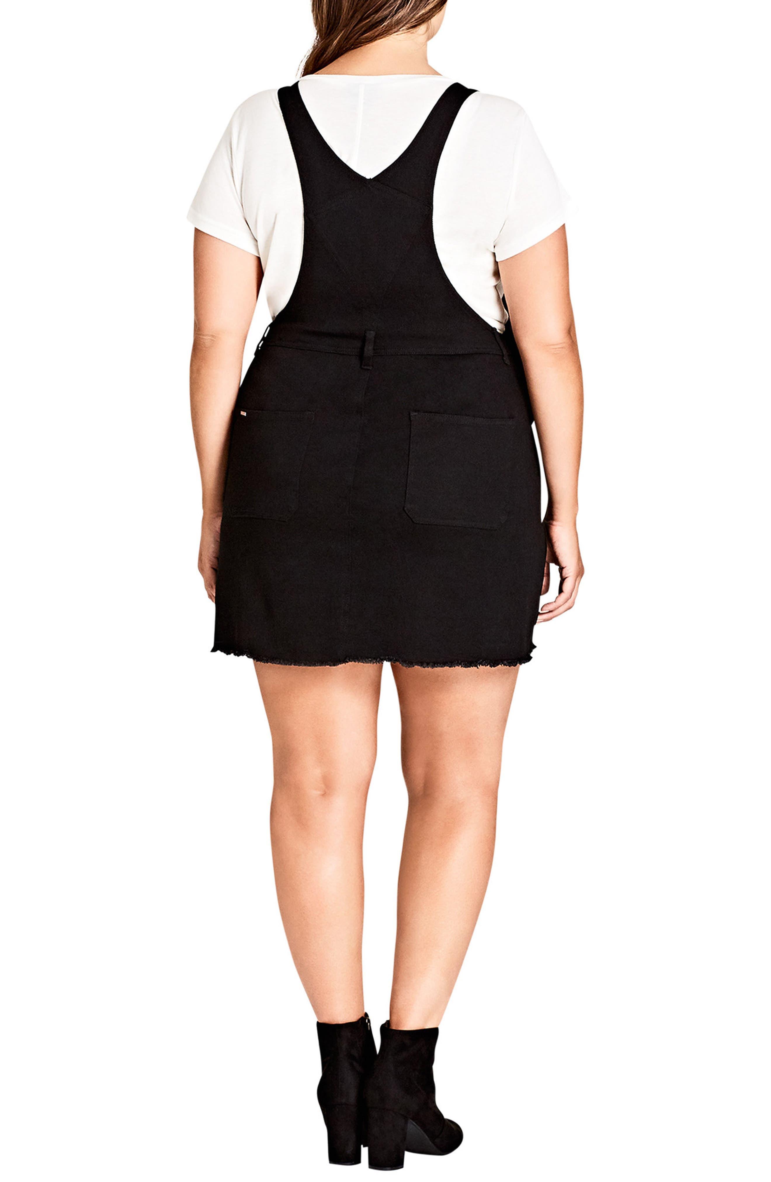 Denim Overall Dress,                             Alternate thumbnail 2, color,                             Black