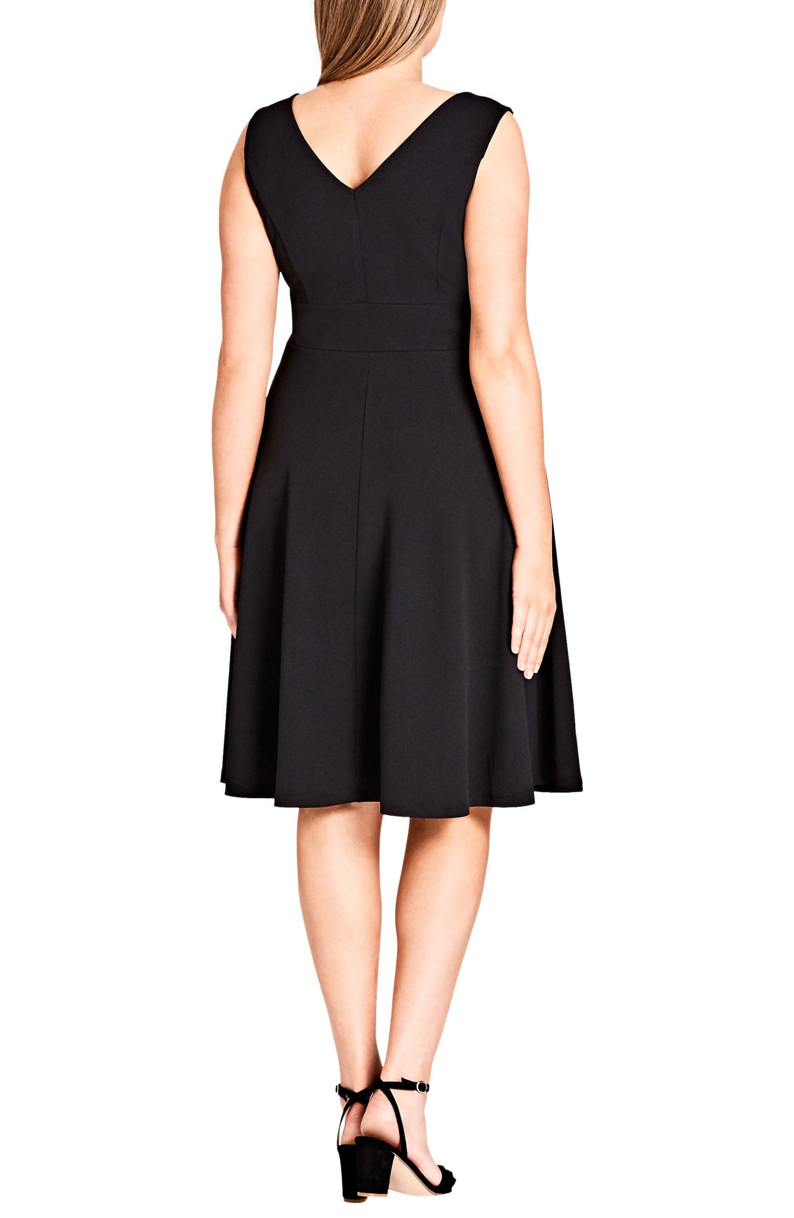 Fit & Flare Dress,                             Alternate thumbnail 2, color,                             Black