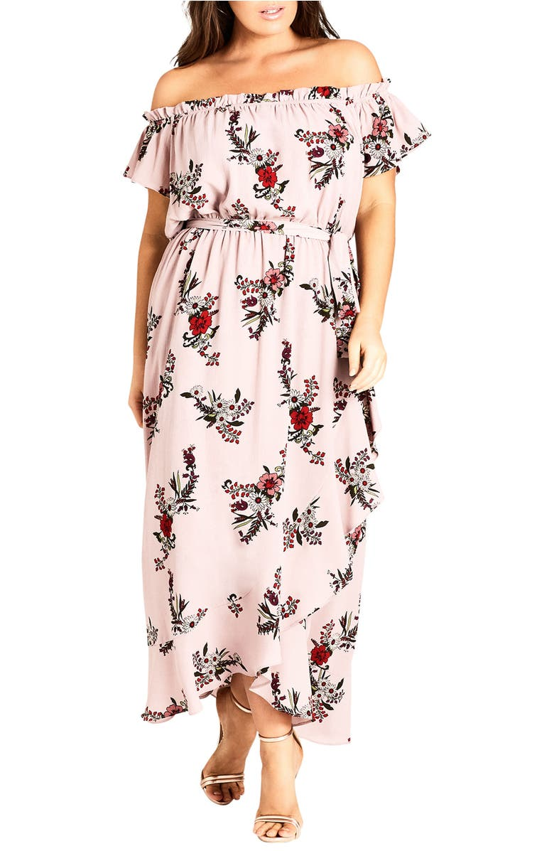 City Chic SKY FLORAL OFF THE SHOULDER MAXI DRESS