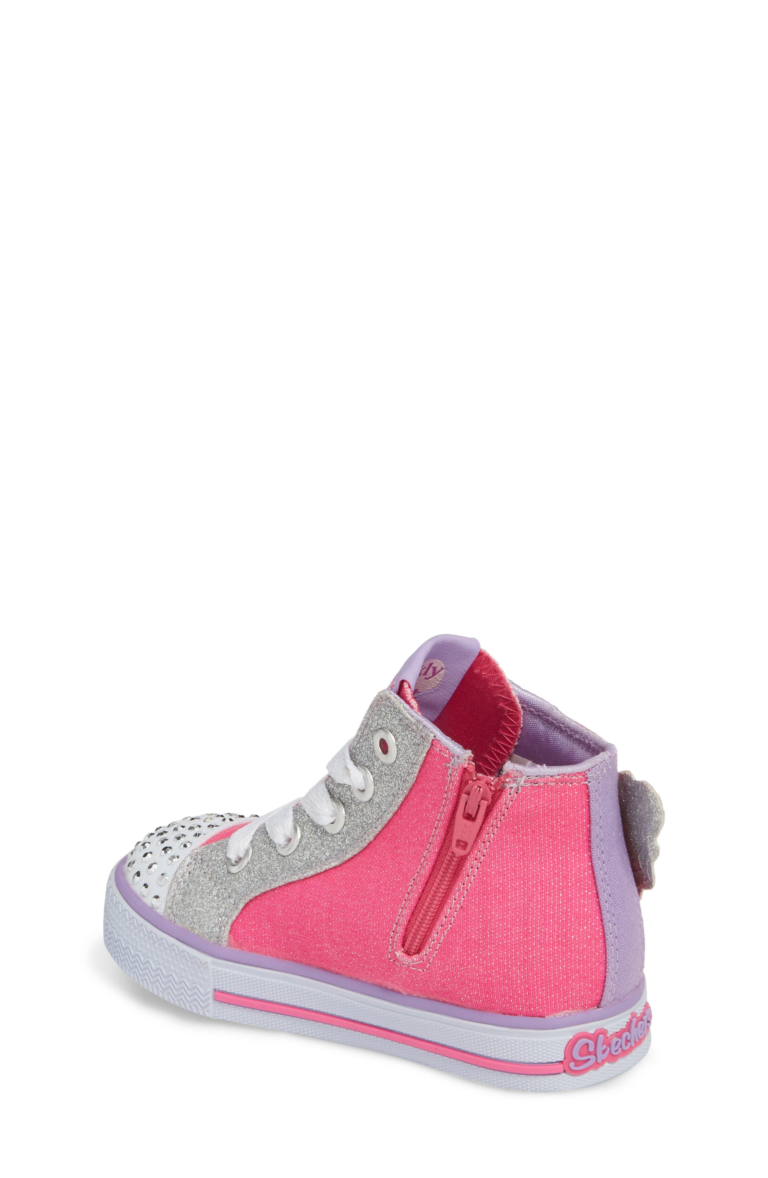 Twinkle Toes Shuffles Fooling Flutters Light-Up High Top Sneaker,                             Alternate thumbnail 2, color,                             Hot Pink/ Silver