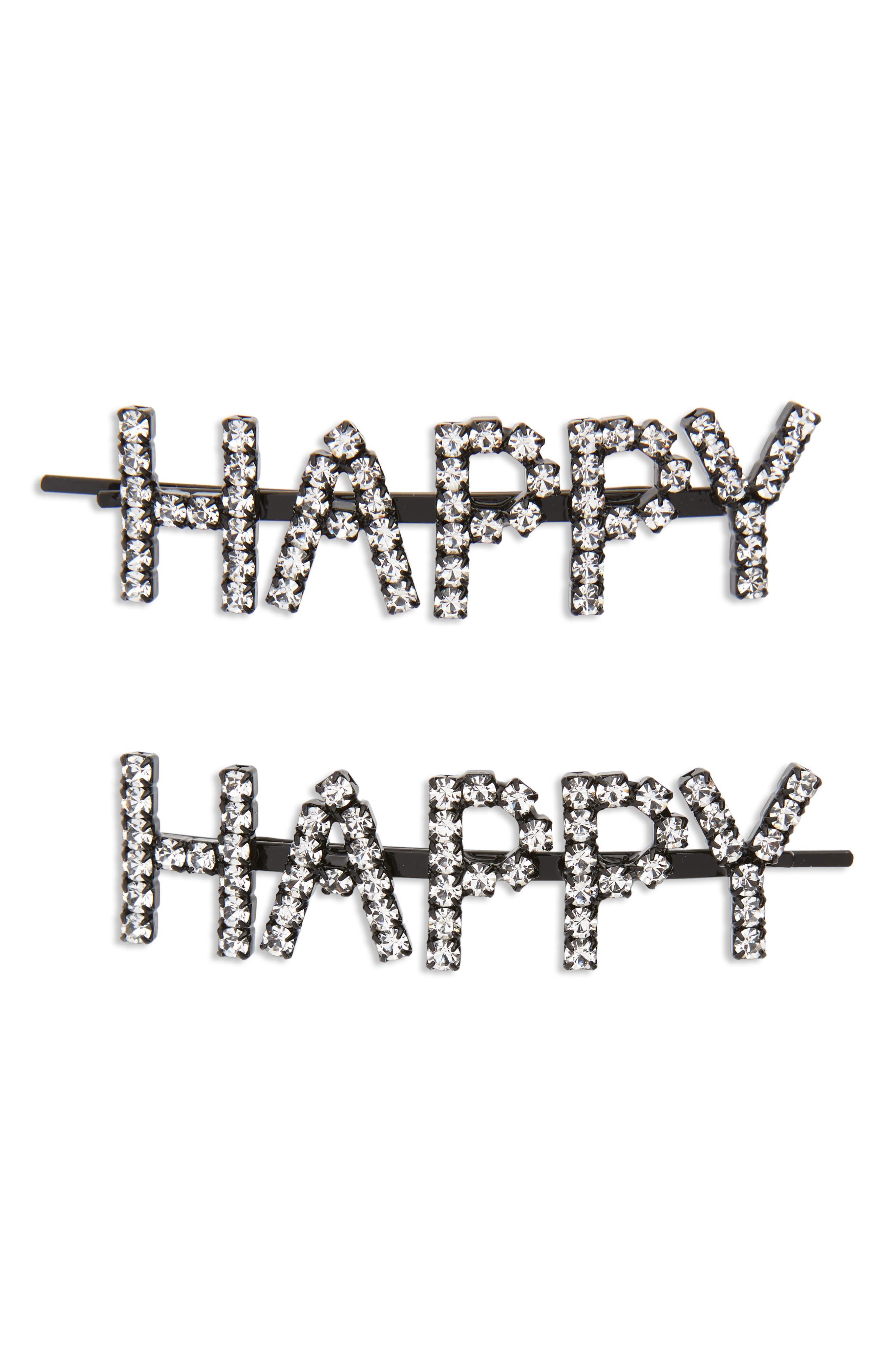 Happy Set of 2 Crystal Bobby Pins,                         Main,                         color, Clear