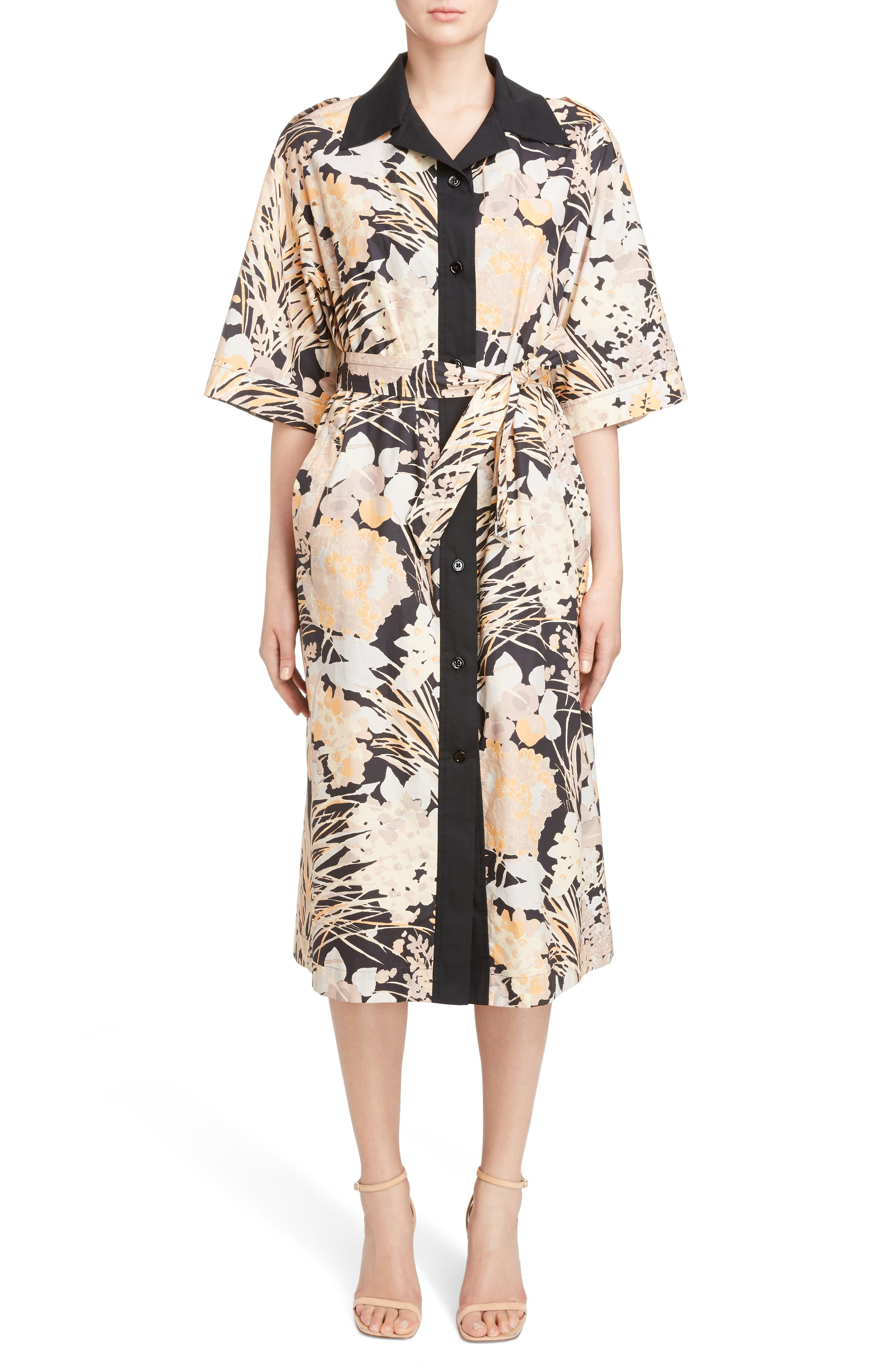 Floral Cotton Shirtdress,                         Main,                         color, Skin
