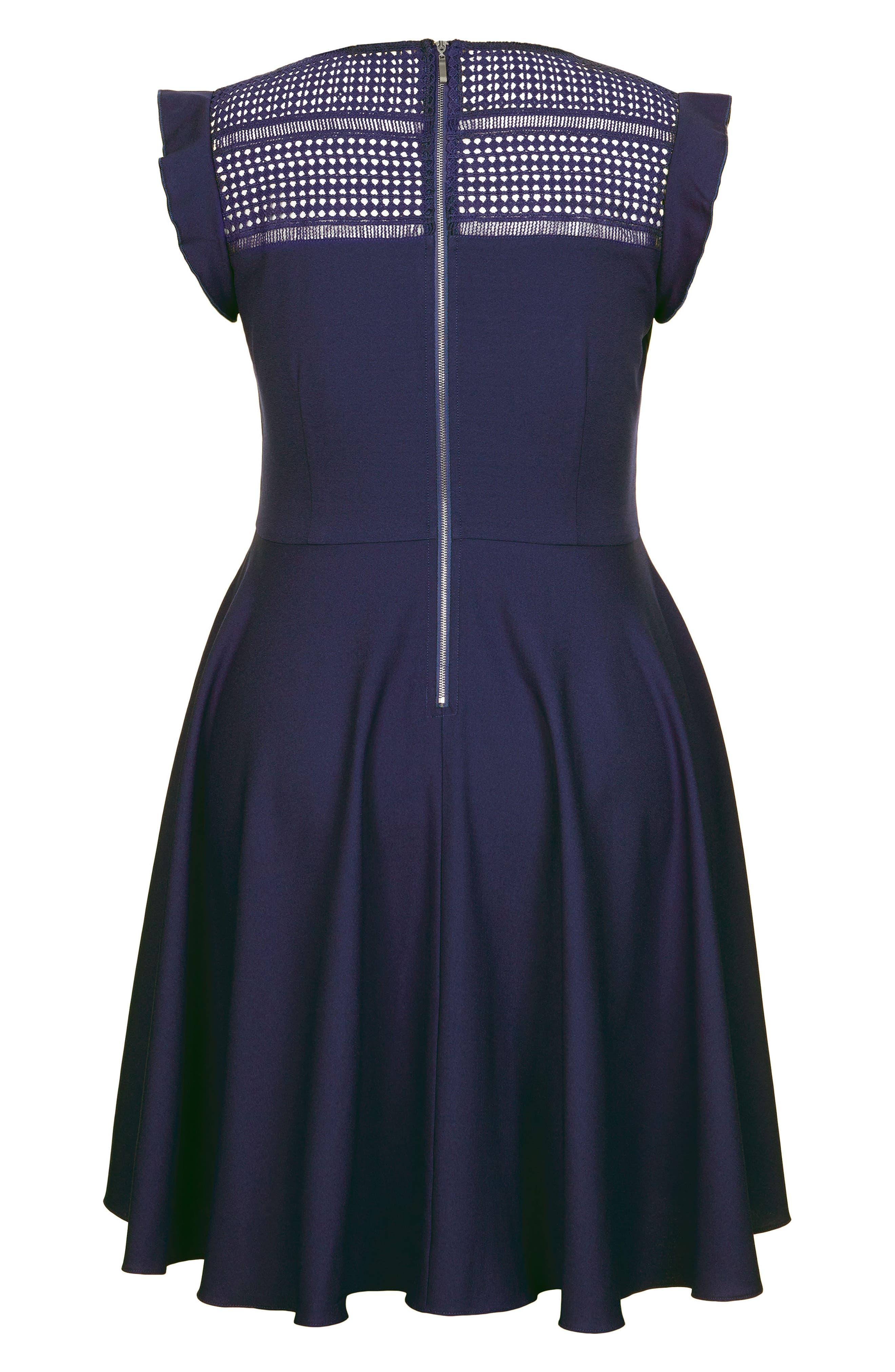First Place Crochet Yoke Fit & Flare Dress,                             Alternate thumbnail 3, color,                             Navy
