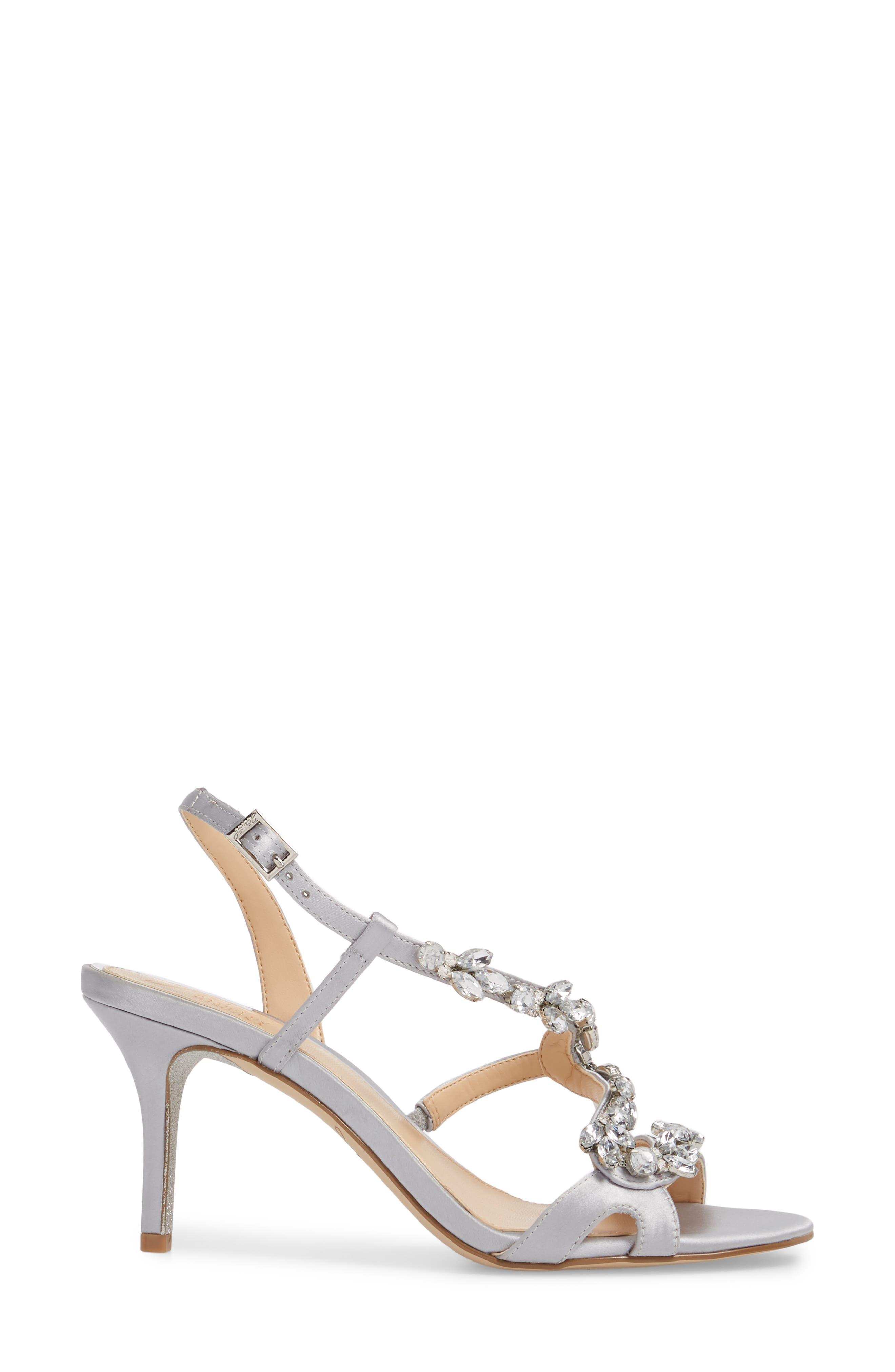 Badgley Mischka Ganet Embellished Sandal,                             Alternate thumbnail 3, color,                             Silver Satin