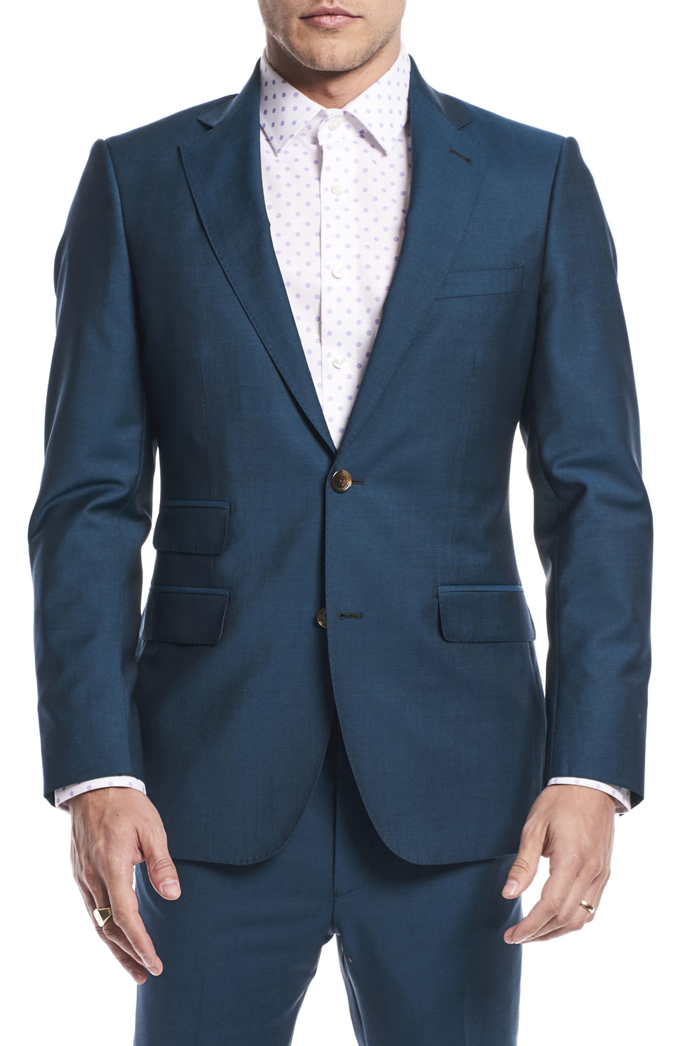 by Ilaria Urbinati Kilgore Slim Fit Solid Wool & Mohair Suit,                             Alternate thumbnail 3, color,                             Blue Teal