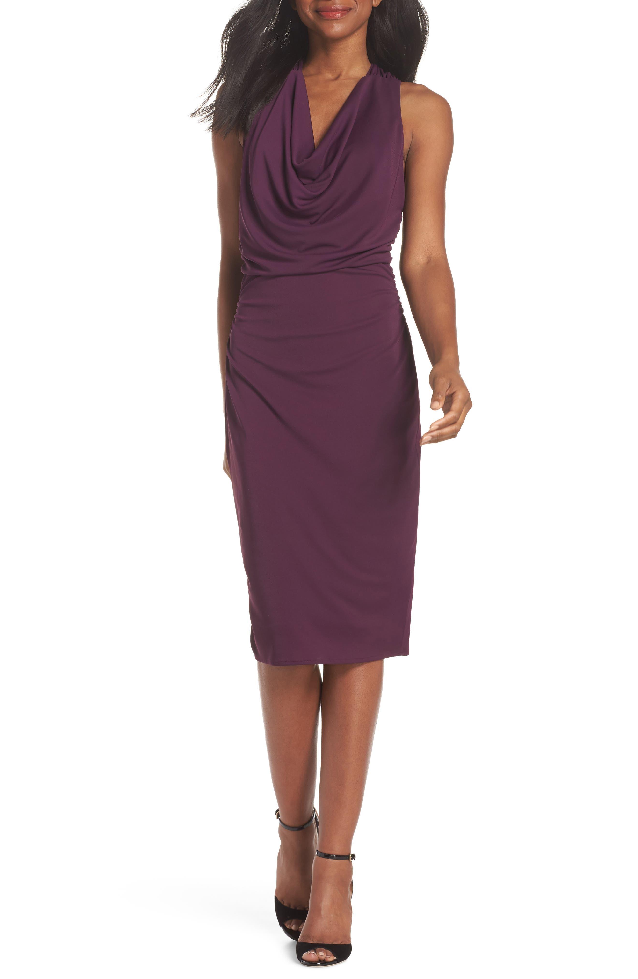 Elise Cowl Neck Sleeveless Dress,                         Main,                         color, Wine
