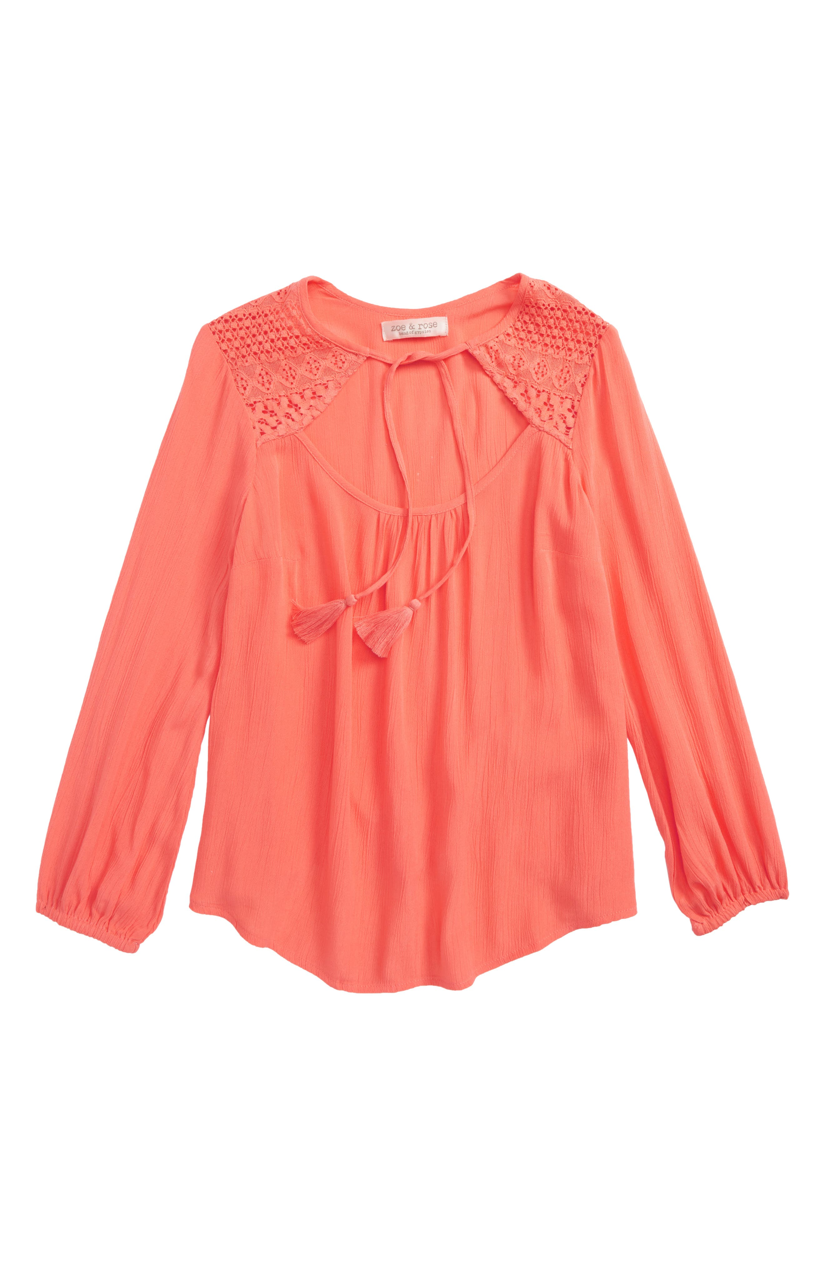 Lace Inset Swing Top,                         Main,                         color, Coral