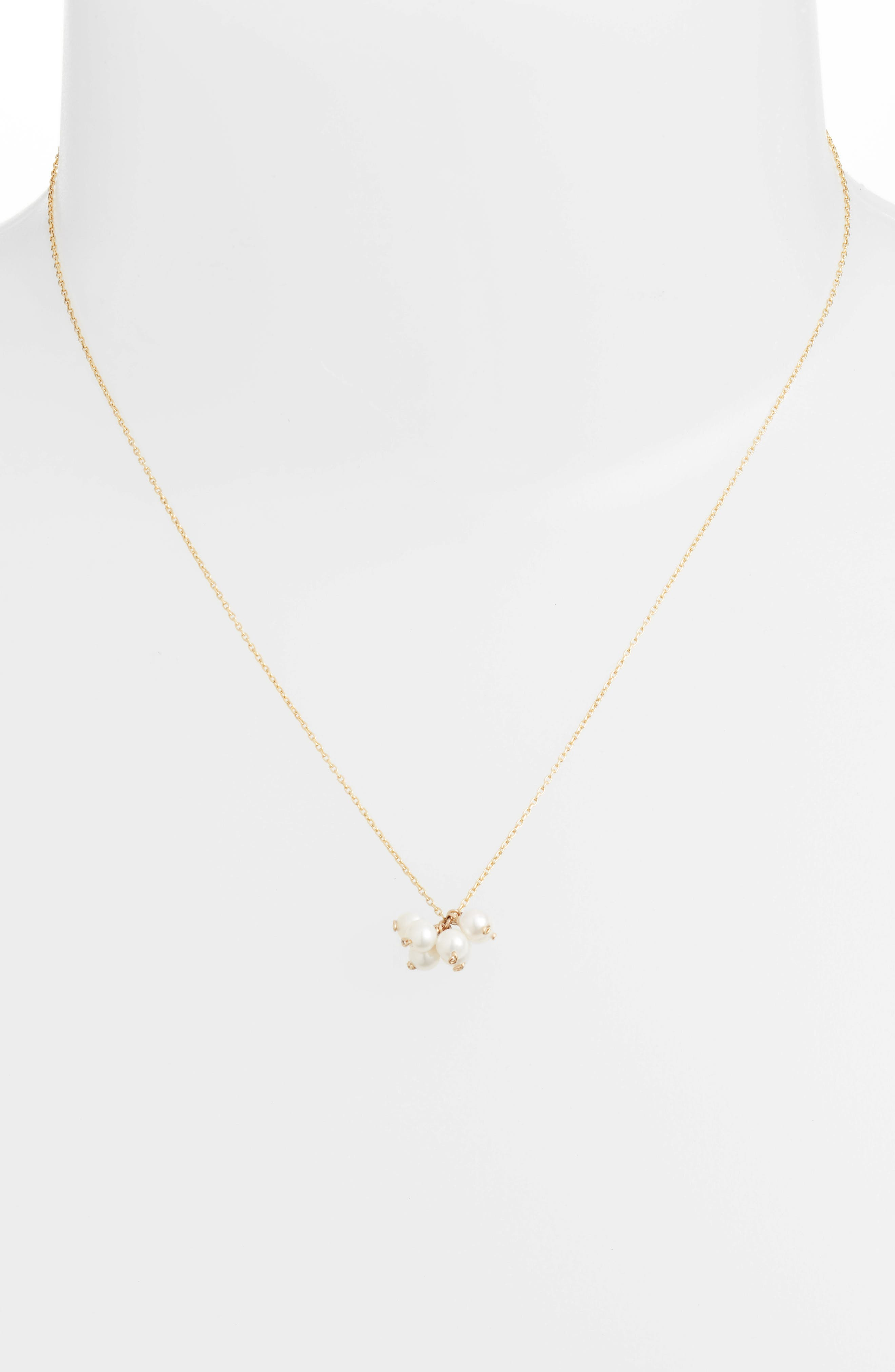 Baby Pearl Cluster Pendant Necklace,                             Alternate thumbnail 2, color,                             Yellow Gold/ White Pearl
