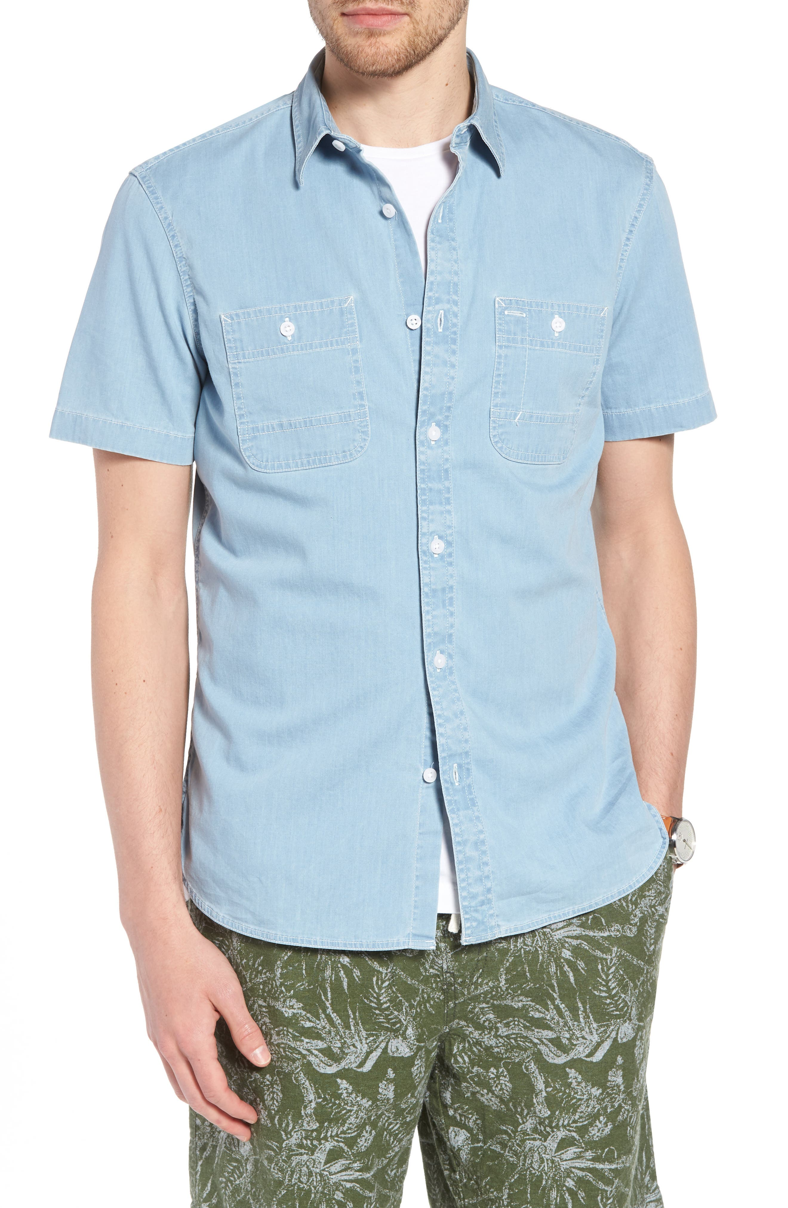 Workwear Trim Fit Stretch Denim Shirt,                             Alternate thumbnail 4, color,                             Blue Light Chambray