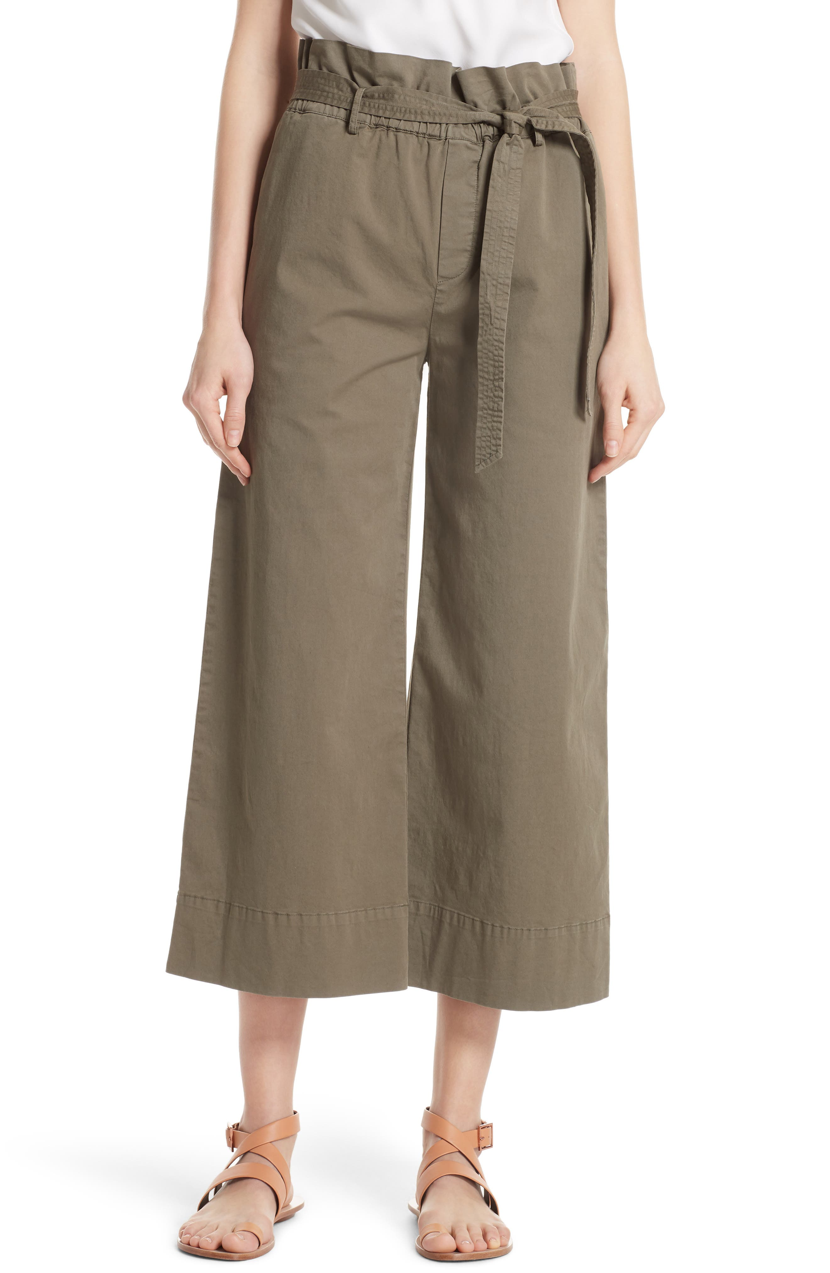 FRAME Paperbag Waist Wide Leg Crop Pants