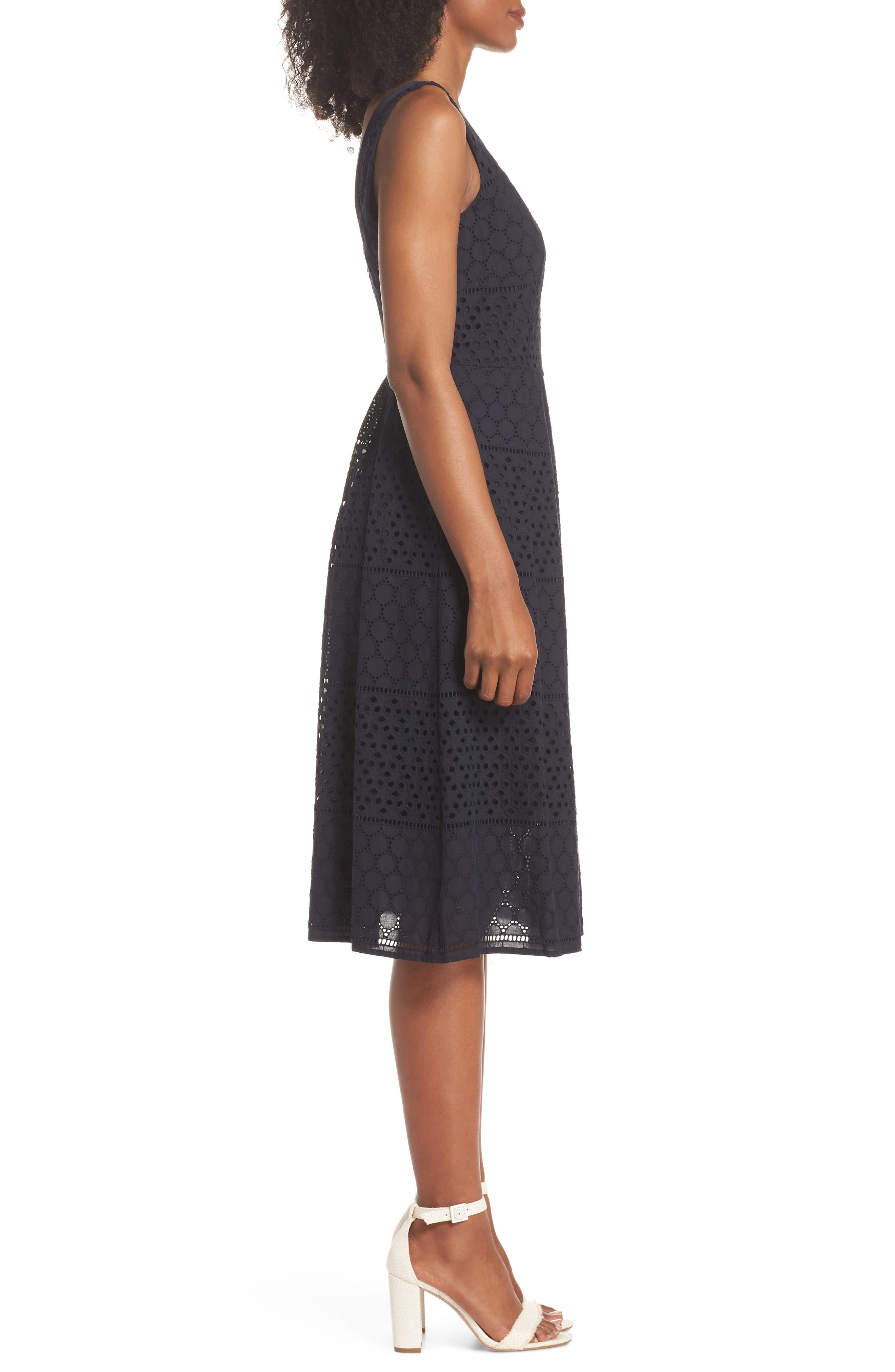 V-Neck Cotton Eyelet Fit & Flare Dress,                             Alternate thumbnail 3, color,                             Navy