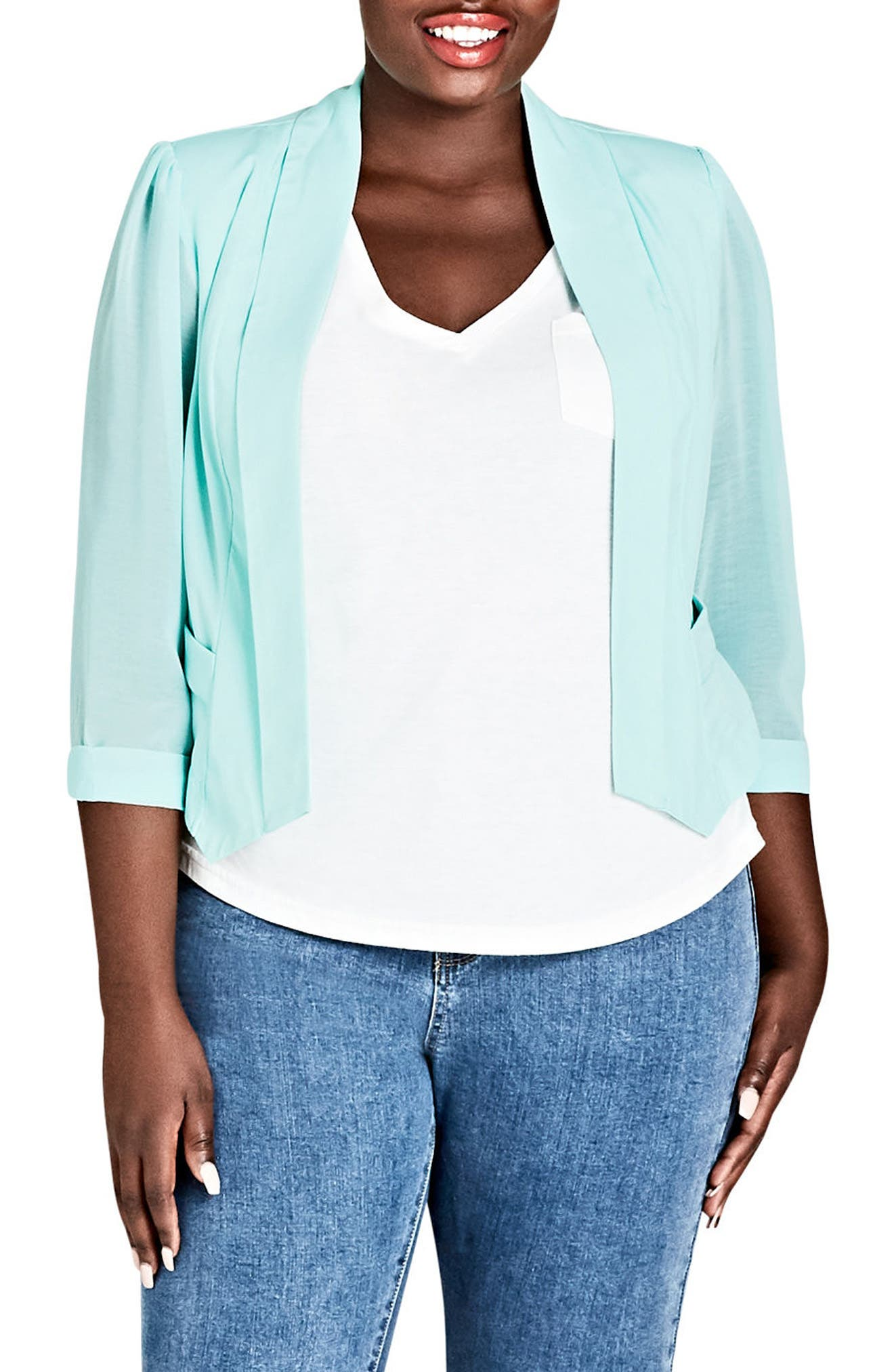 Sheer Sleeve Crop Blazer,                             Main thumbnail 1, color,                             Mint