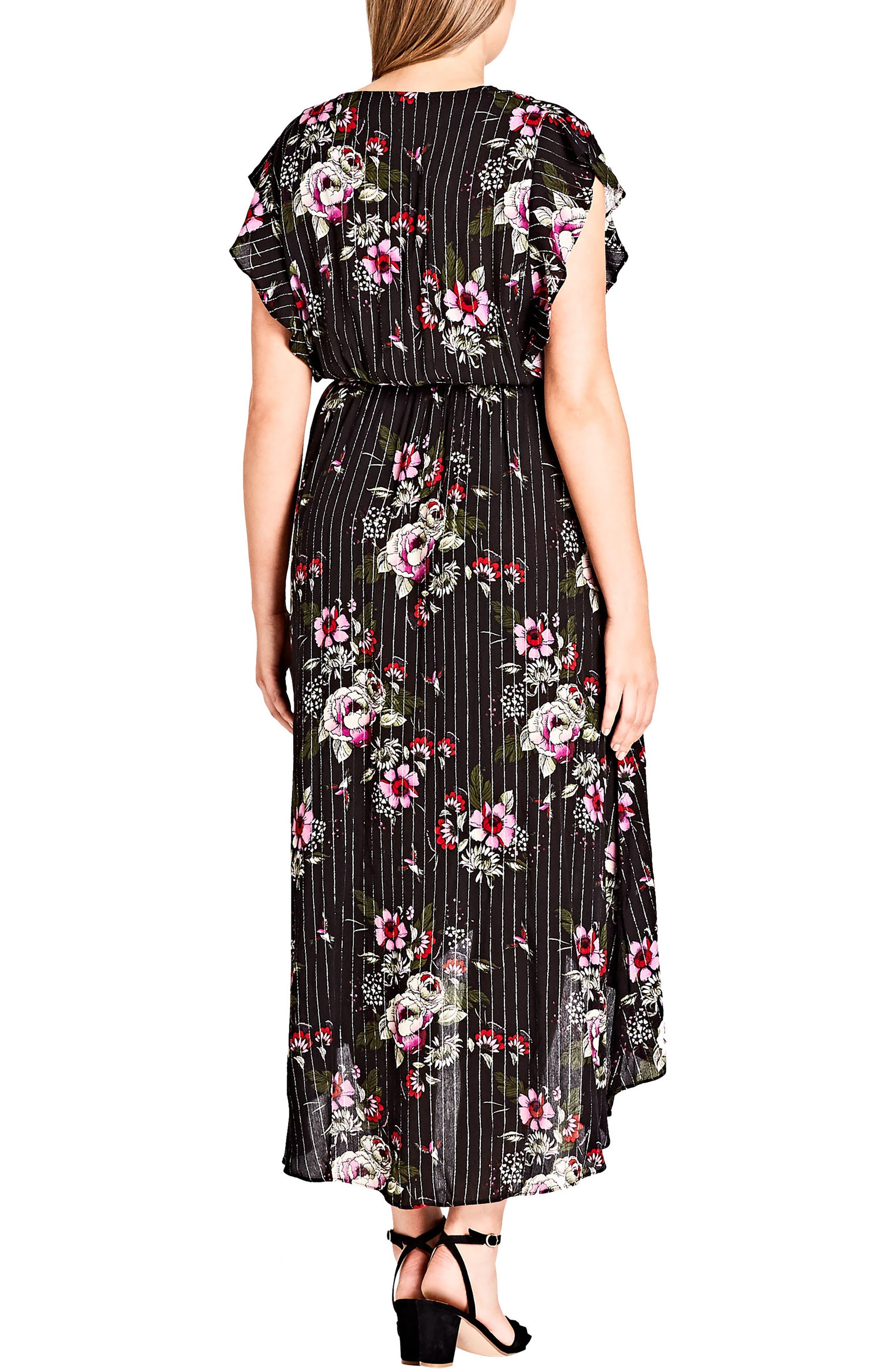 Lolita Floral High/Low Dress,                             Alternate thumbnail 2, color,                             Black