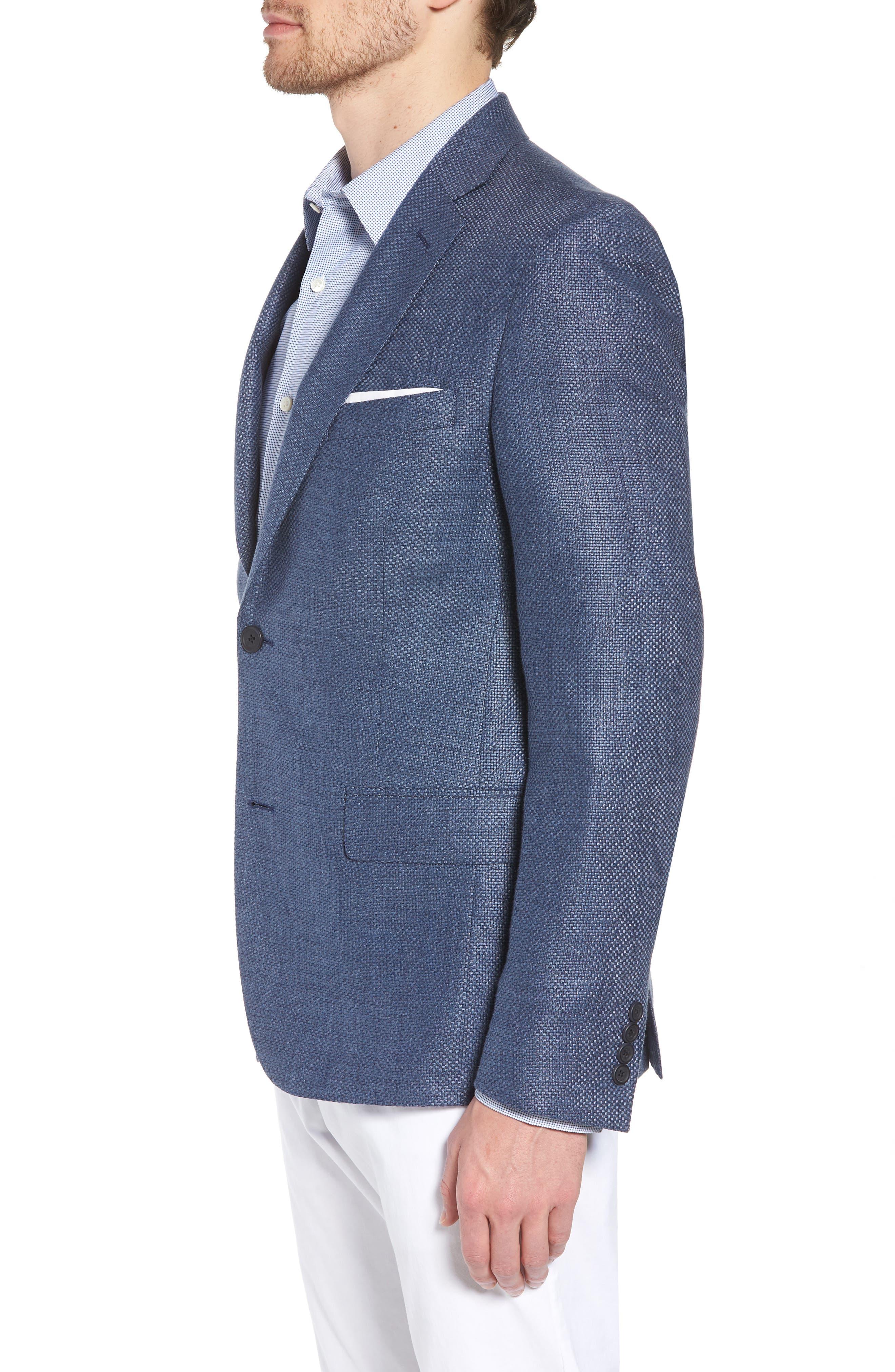 Trim Fit Wool & Linen Blazer,                             Alternate thumbnail 3, color,                             Blue