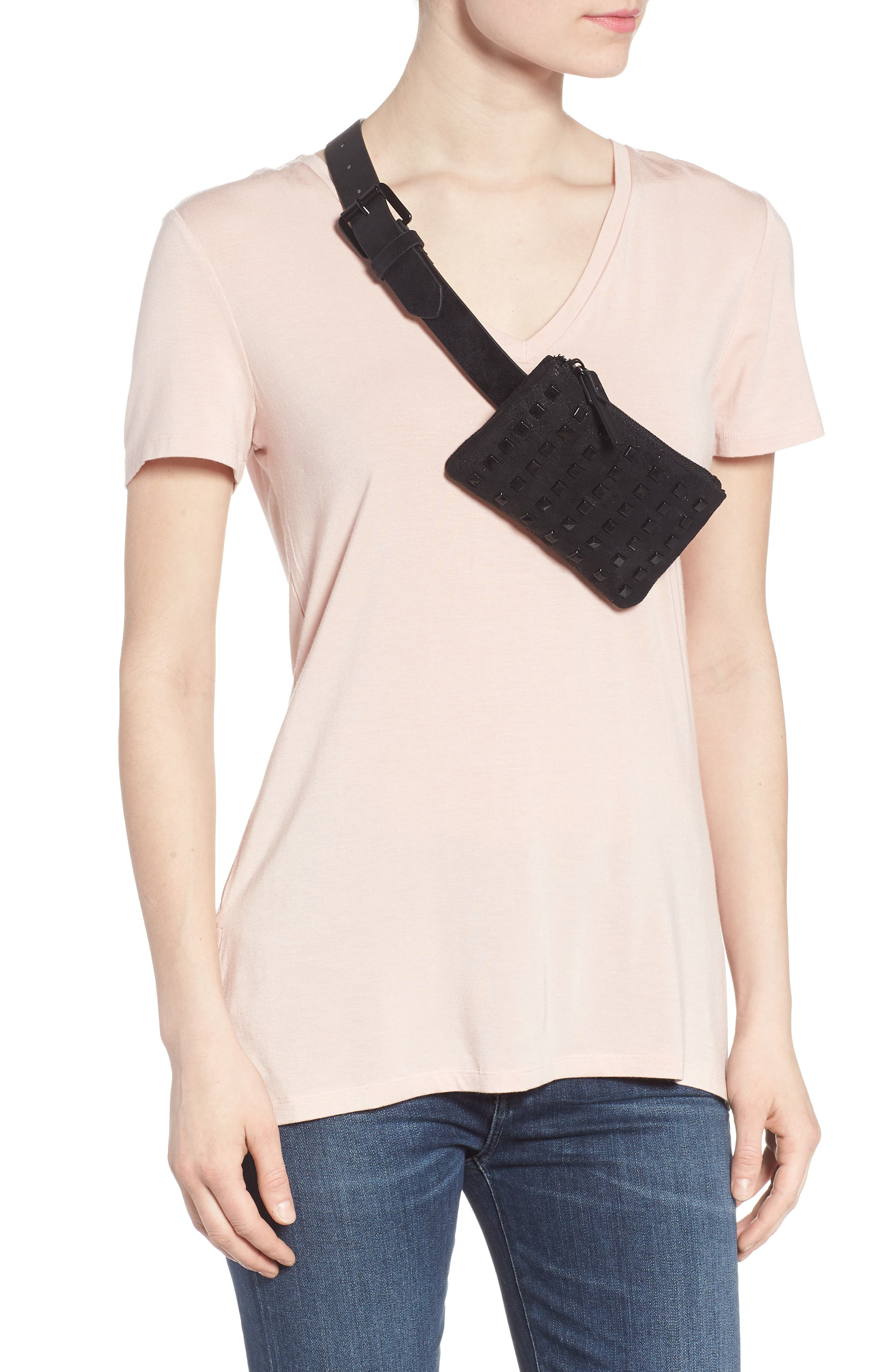 Studded Faux Leather Belt Bag,                             Alternate thumbnail 2, color,                             Black