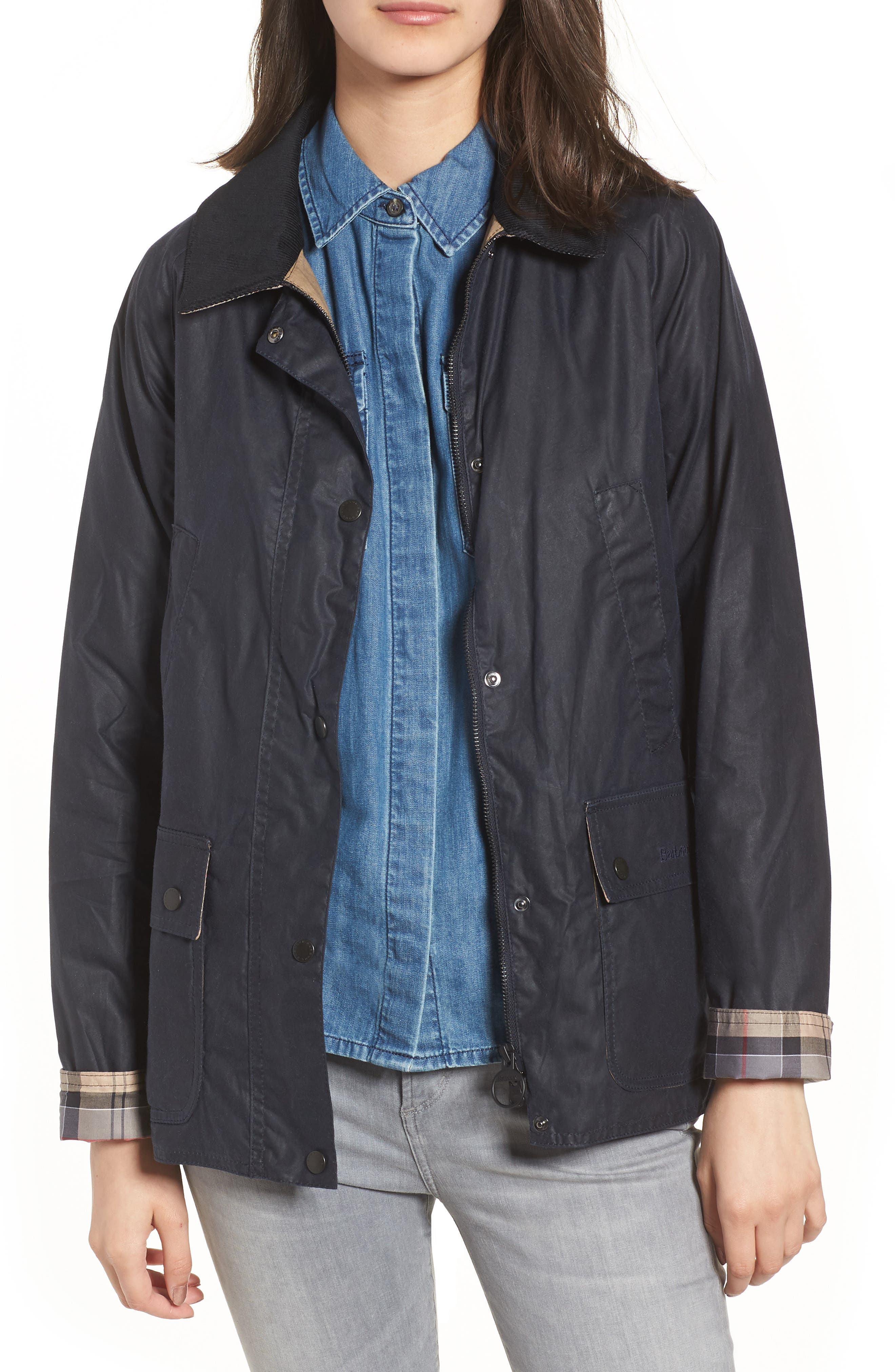 Acorn Water Resistant Waxed Cotton Jacket,                             Main thumbnail 1, color,                             Royal Navy