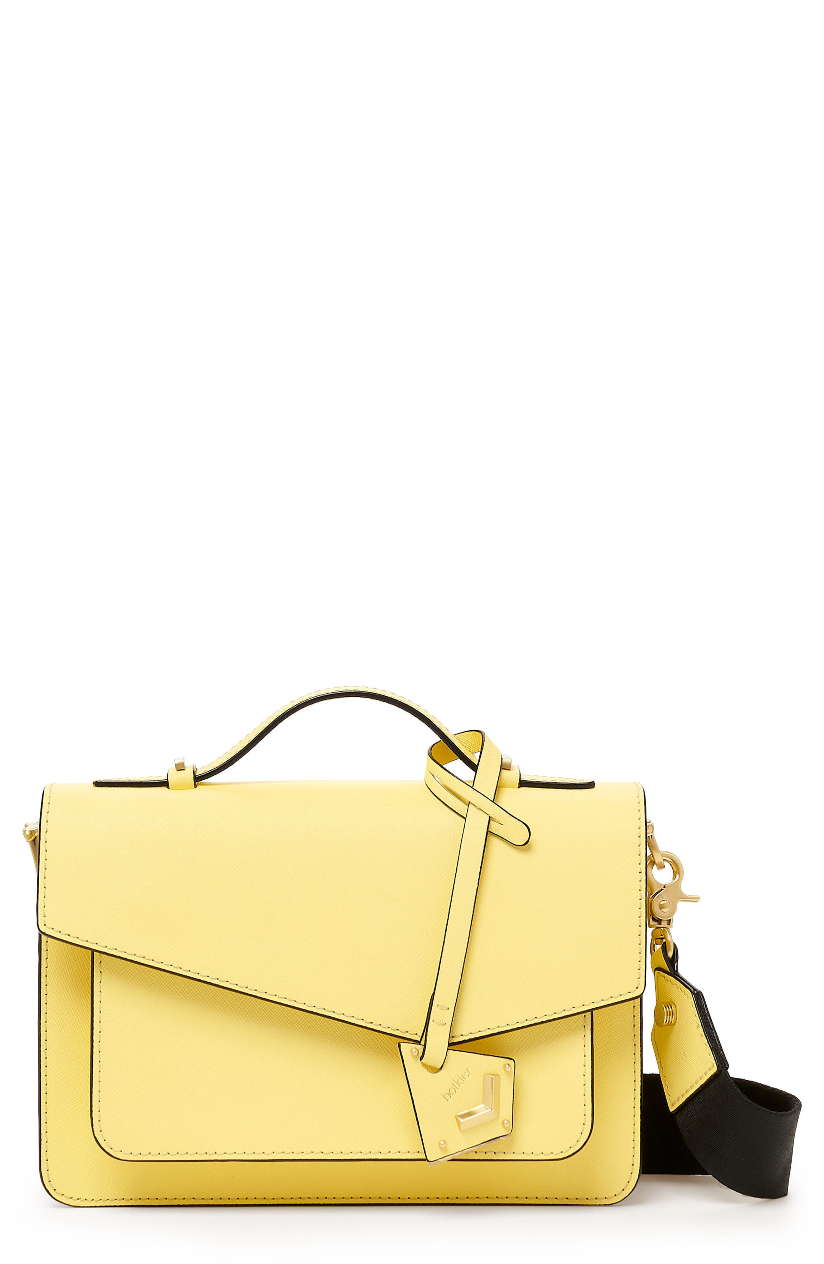 COBBLE HILL LEATHER CROSSBODY BAG - YELLOW