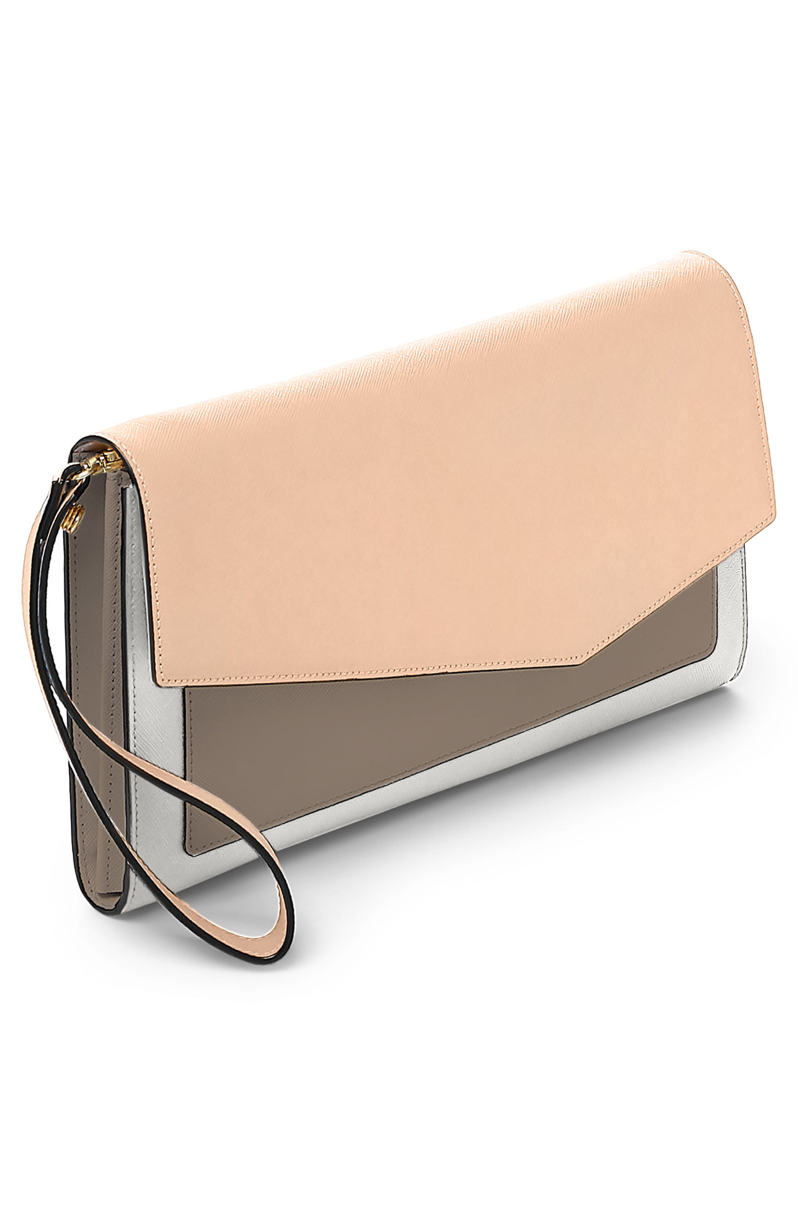 Cobble Hill Leather Wallet,                             Alternate thumbnail 4, color,                             Peach Colorblock