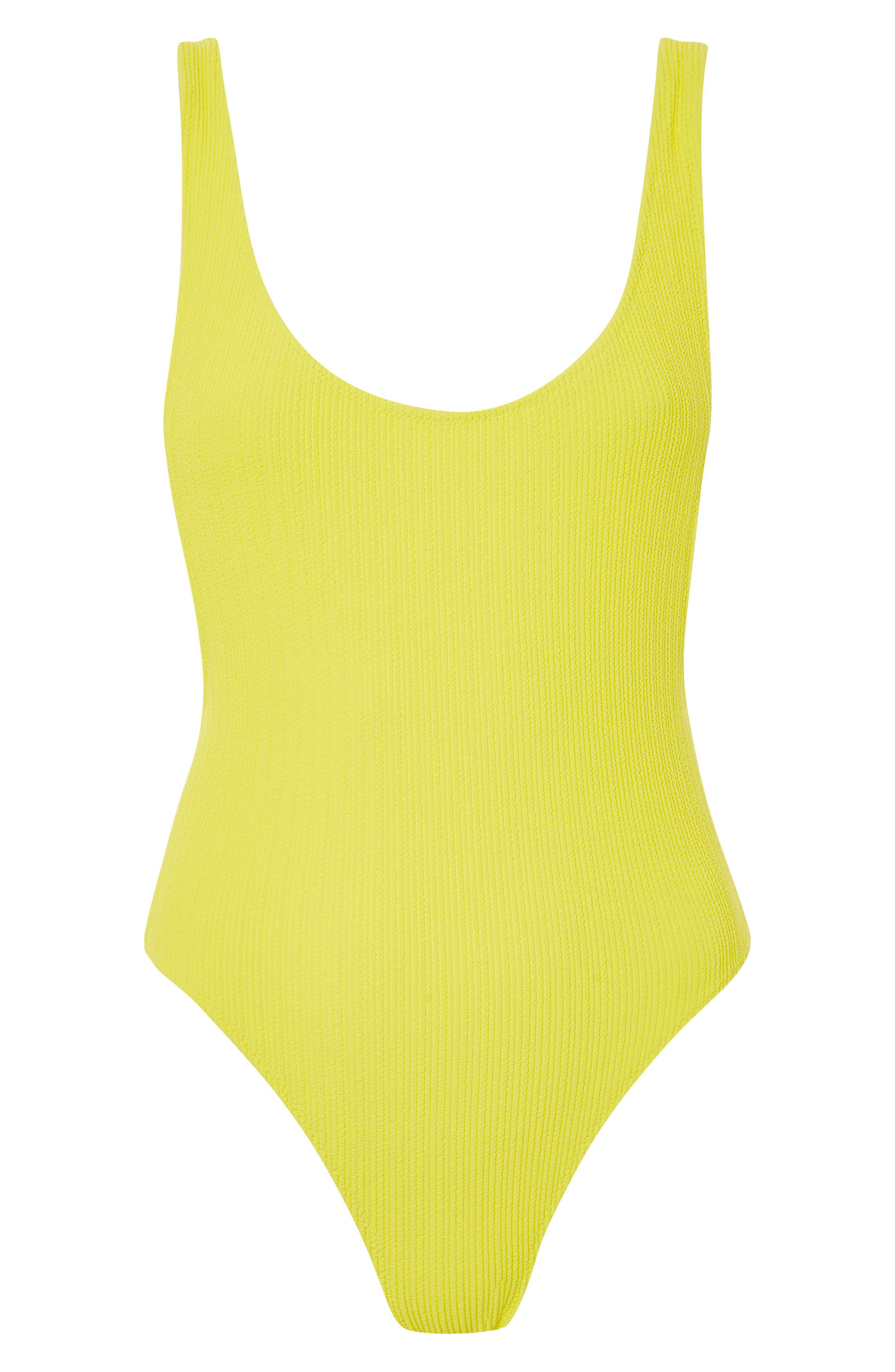 Scoop Neck Crinkle One-Piece Swimsuit,                             Alternate thumbnail 3, color,                             Yellow
