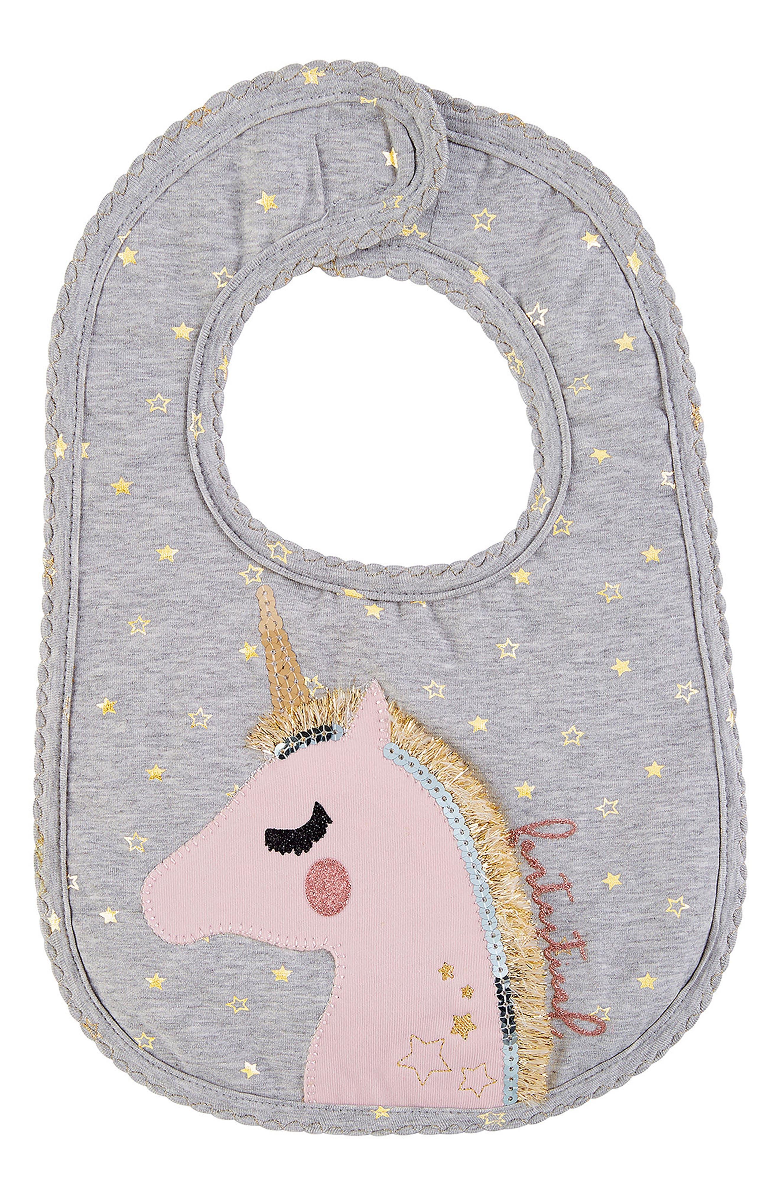 Alternate Image 1 Selected - Mud Pie Unicorn Bib (Baby Girls)
