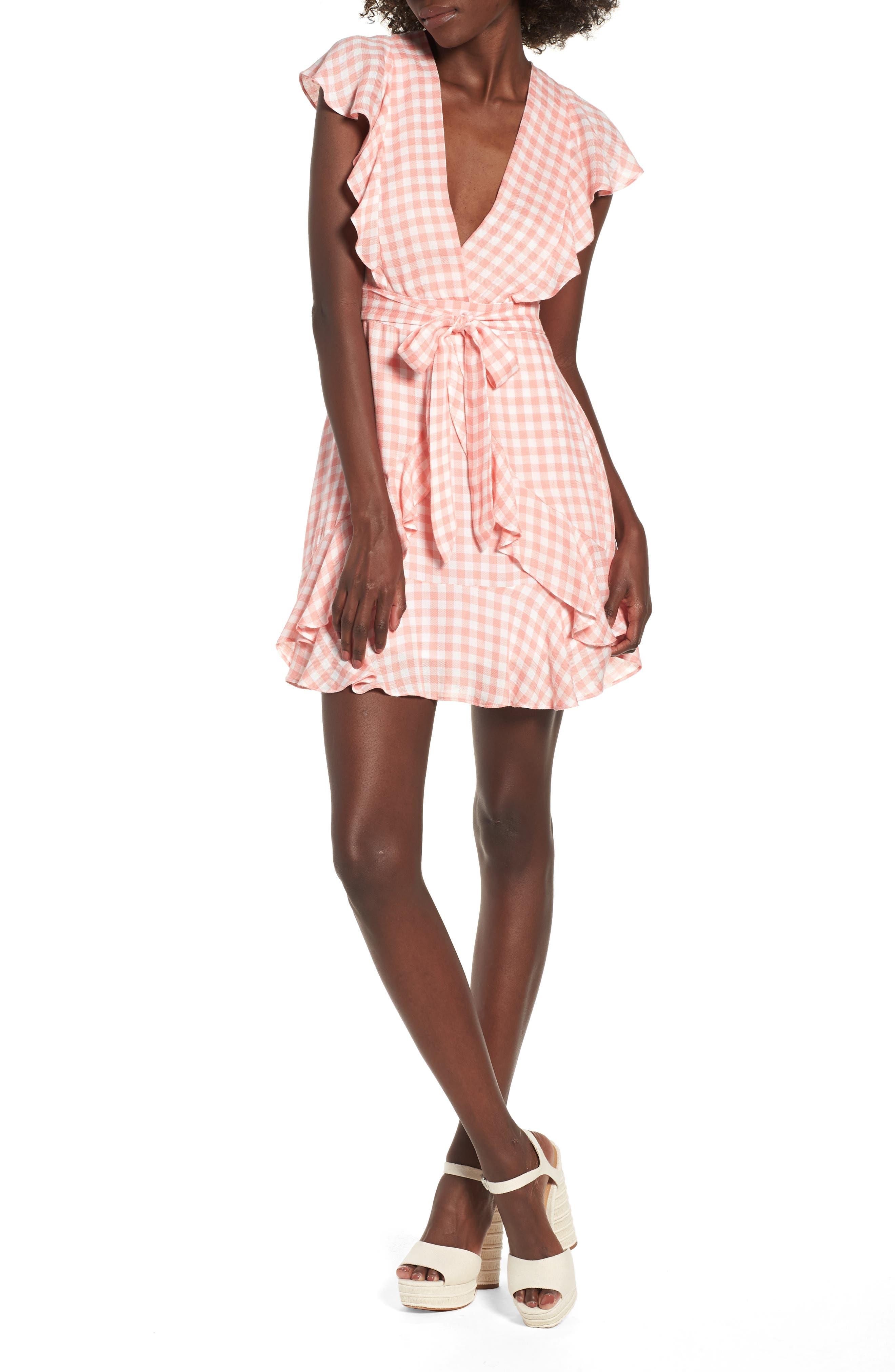 Brunch Ruffle Gingham Dress,                         Main,                         color, Grapefruit Pink