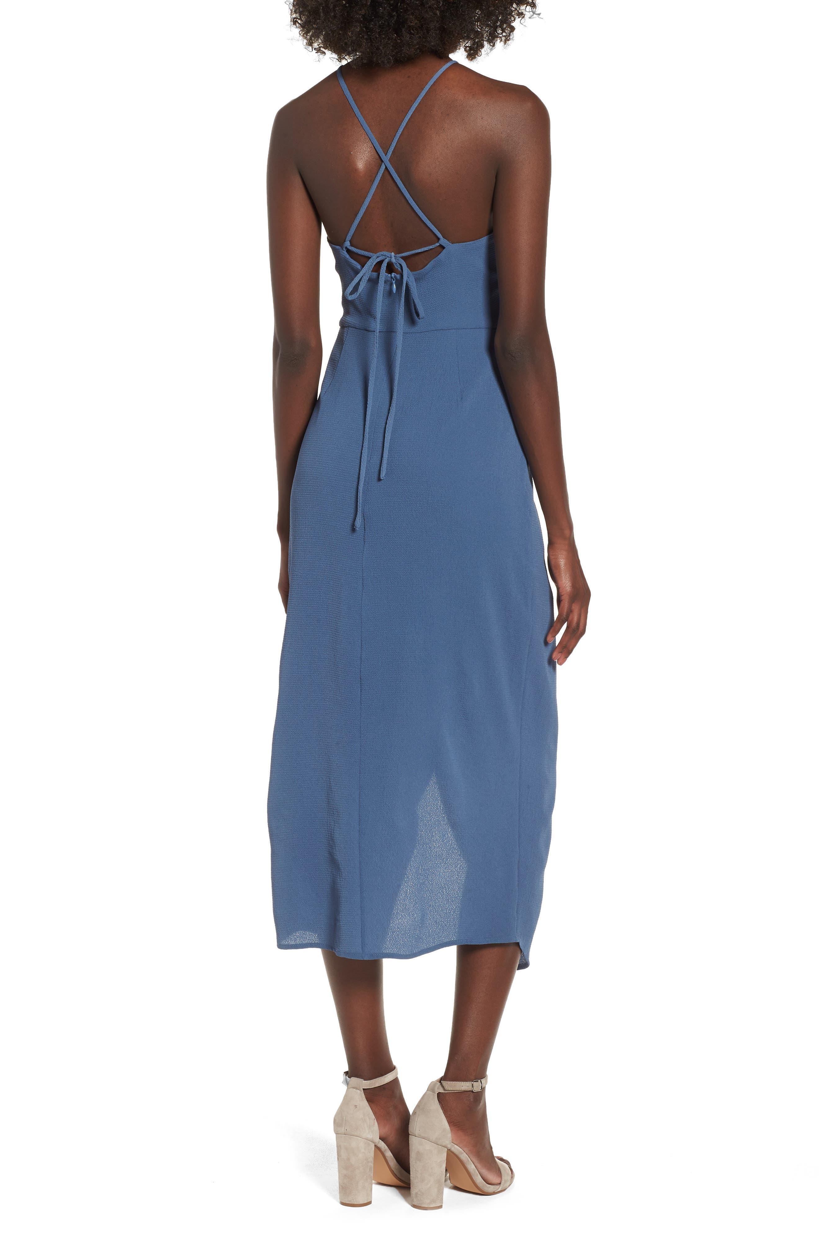 Wrap Midi Dress,                             Alternate thumbnail 2, color,                             Dusty Teal