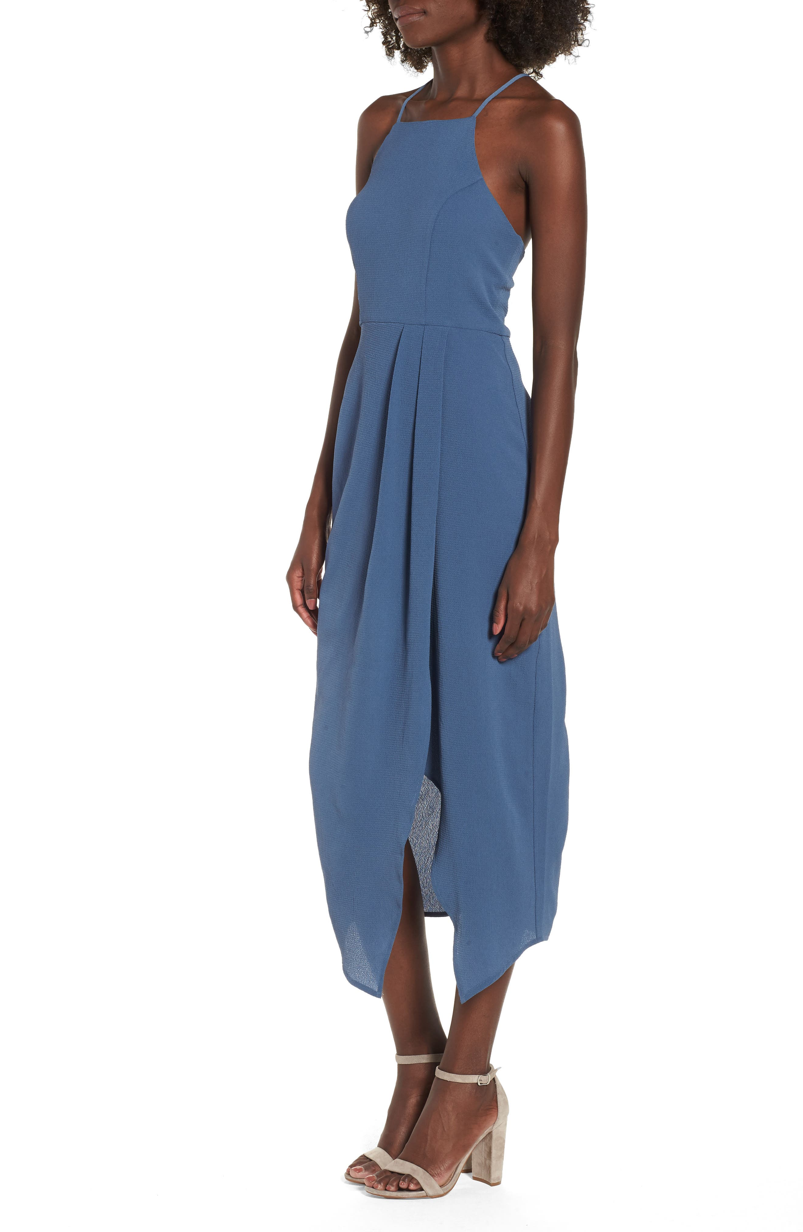 Wrap Midi Dress,                             Alternate thumbnail 3, color,                             Dusty Teal