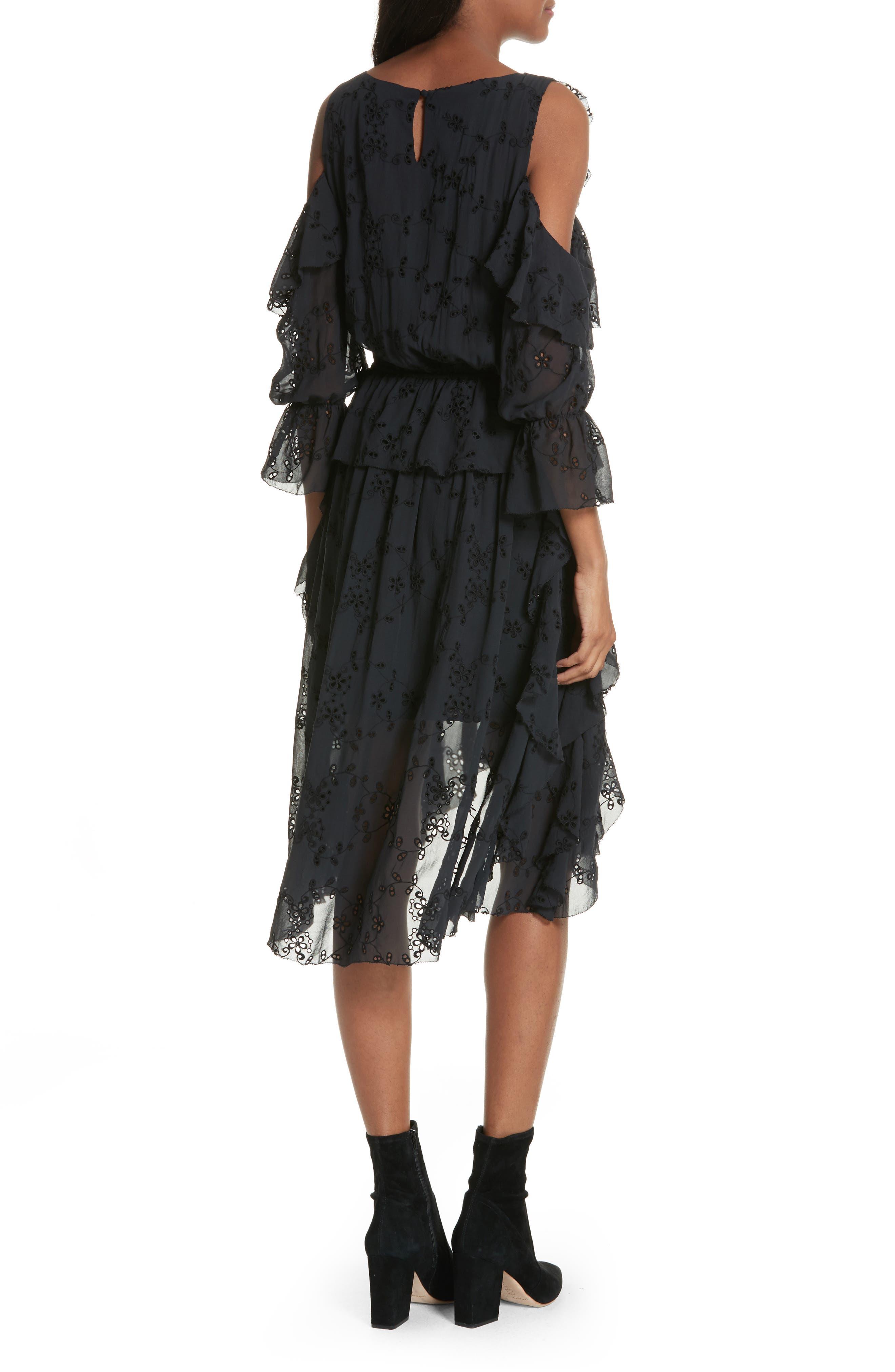Alpheus Cold Shoulder Ruffled Silk Dress,                             Alternate thumbnail 2, color,                             Caviar/ Caviar