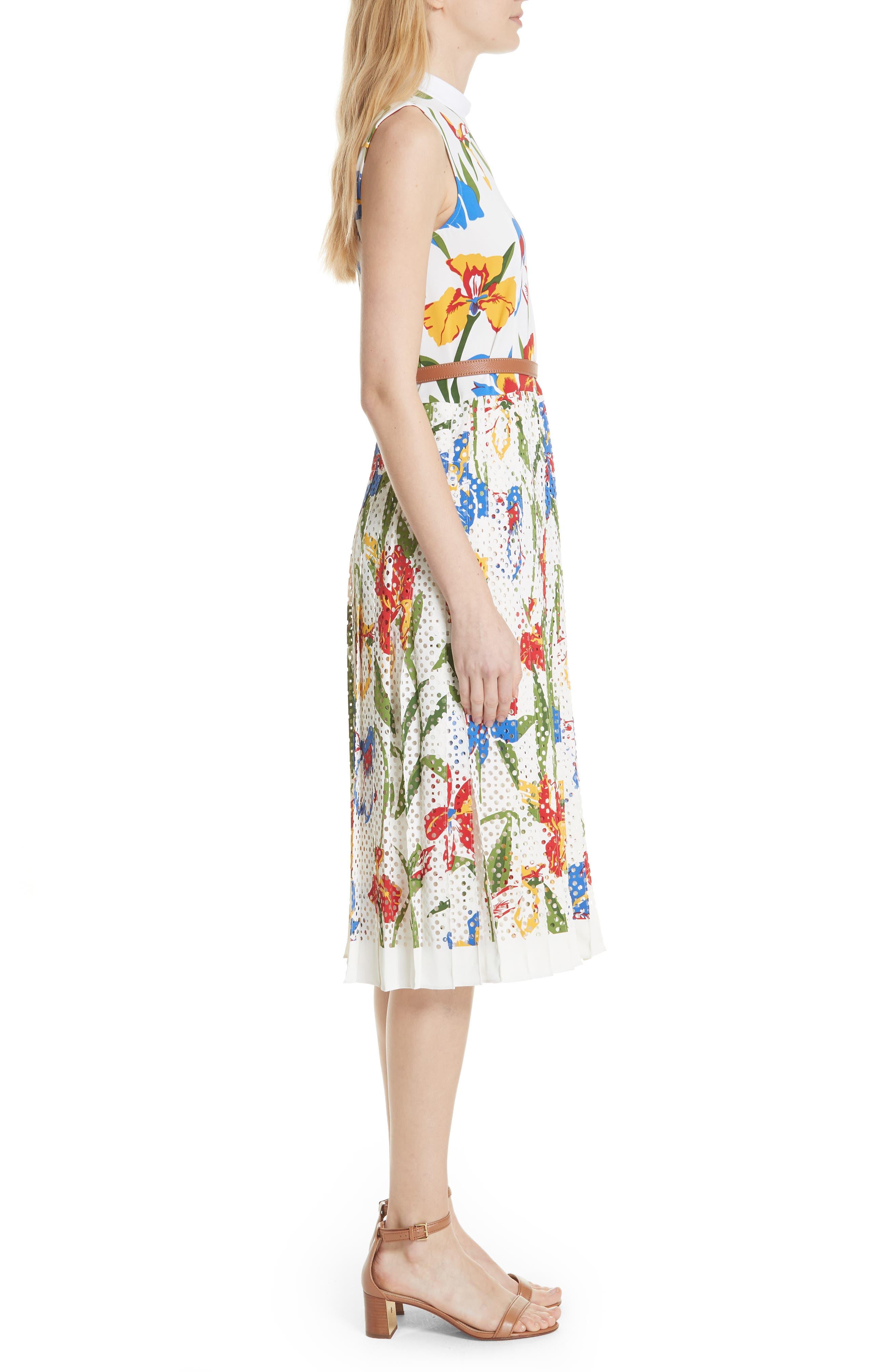 Carine Floral Dress,                             Alternate thumbnail 3, color,                             Painted Iris