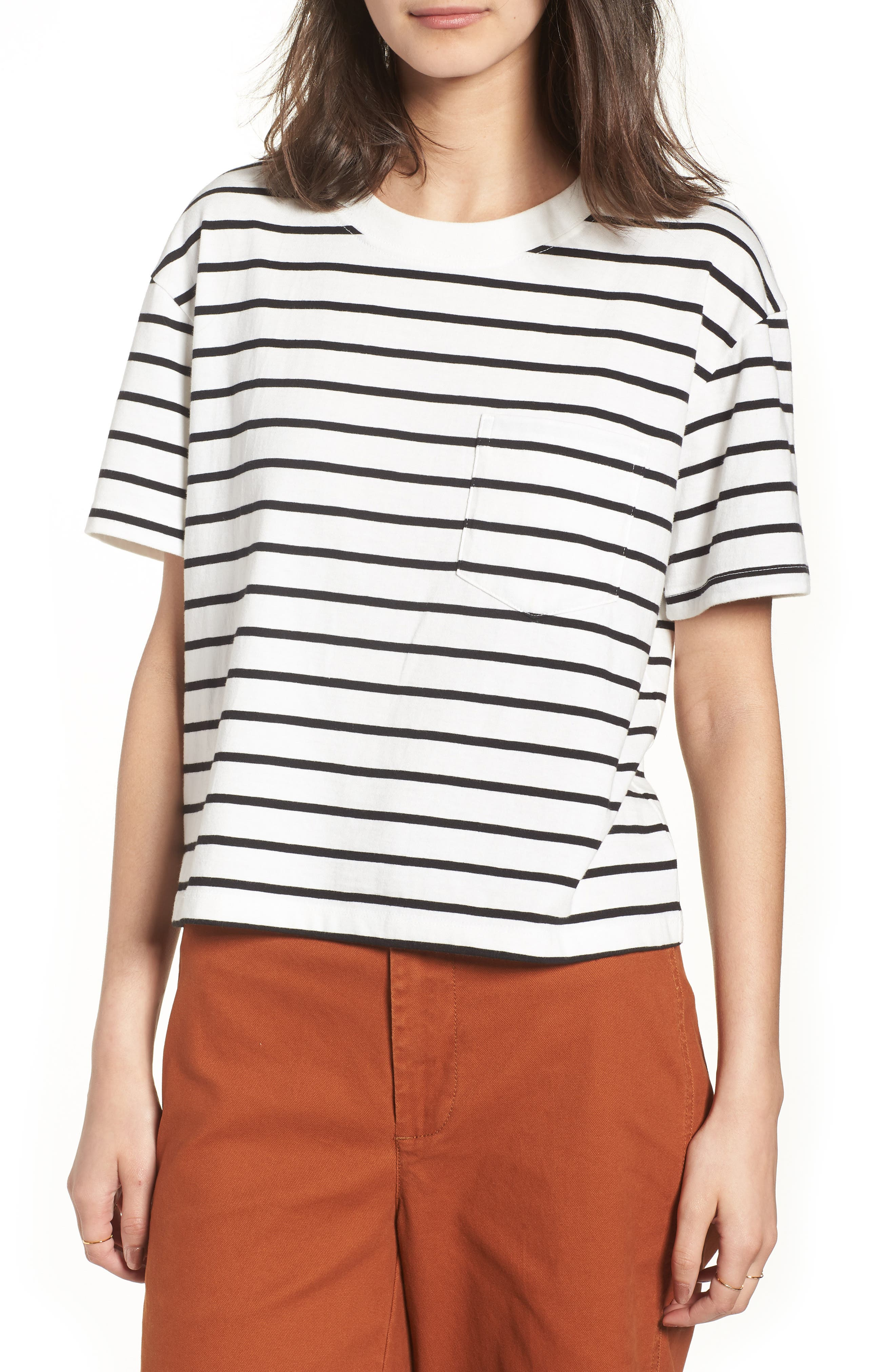 Stripe Easy Crop Tee,                             Main thumbnail 1, color,                             Bright Ivory
