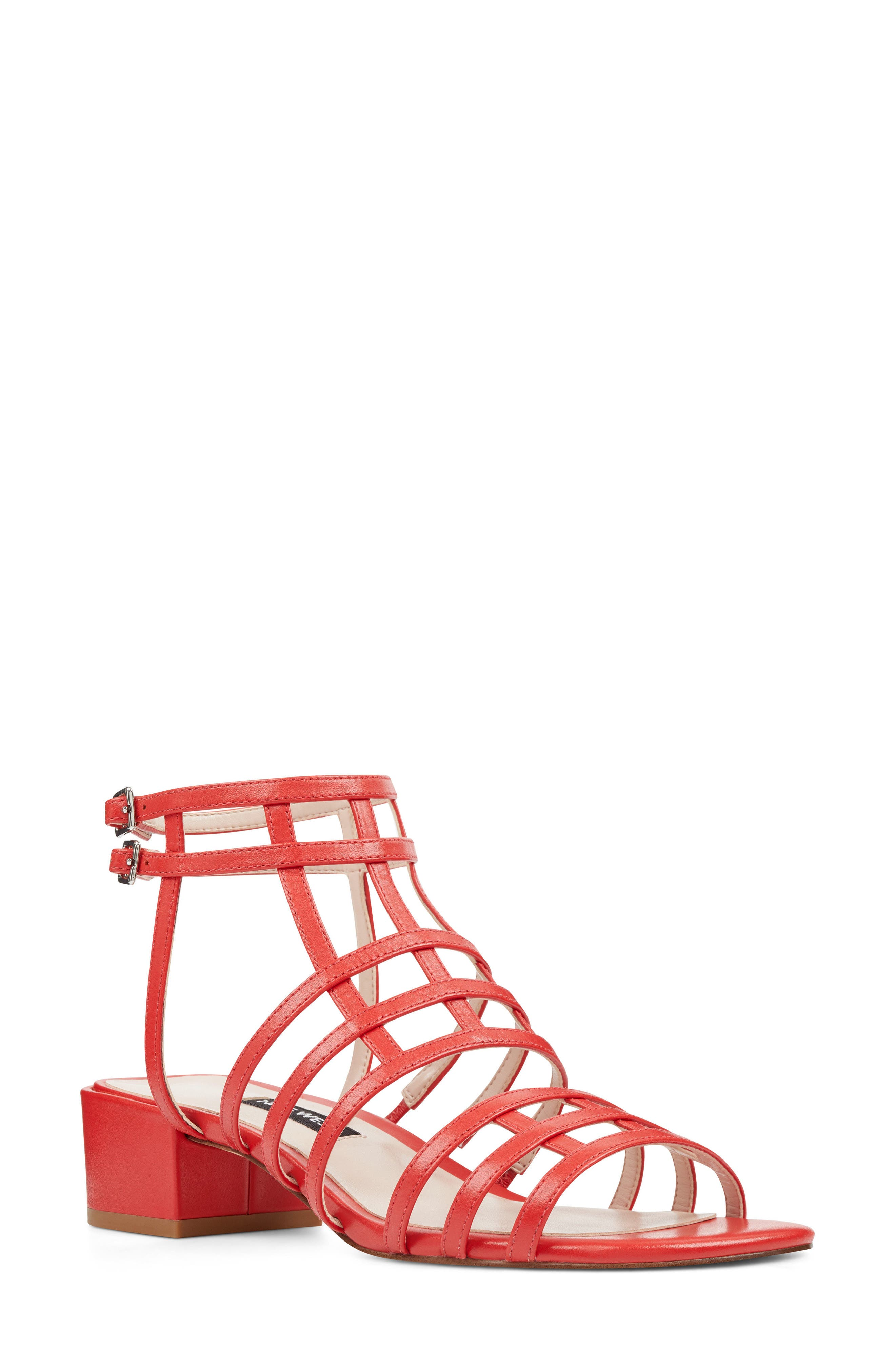 Xerxes Sandal,                         Main,                         color, Red Leather