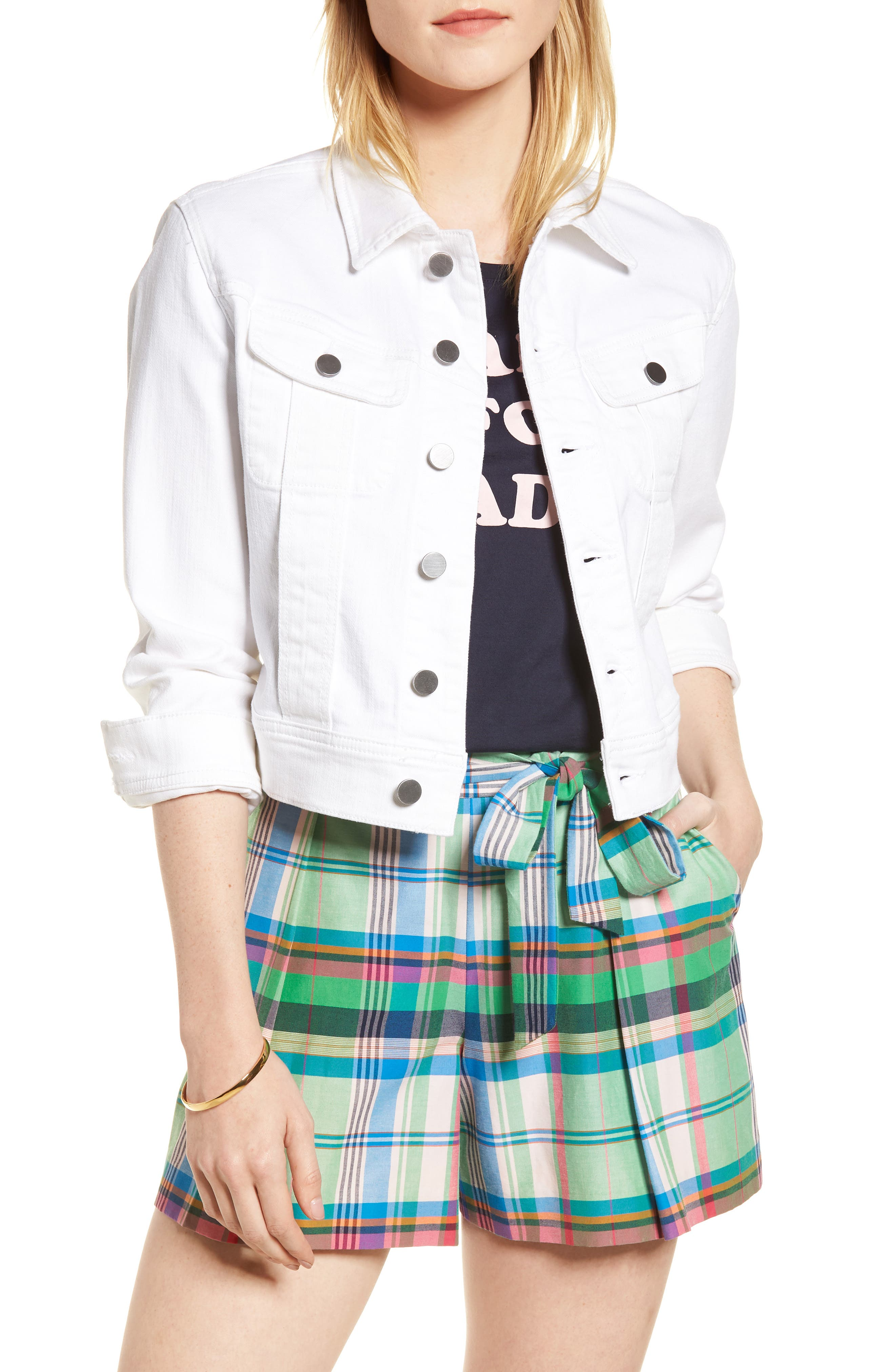 White Denim Jacket,                             Main thumbnail 1, color,                             White