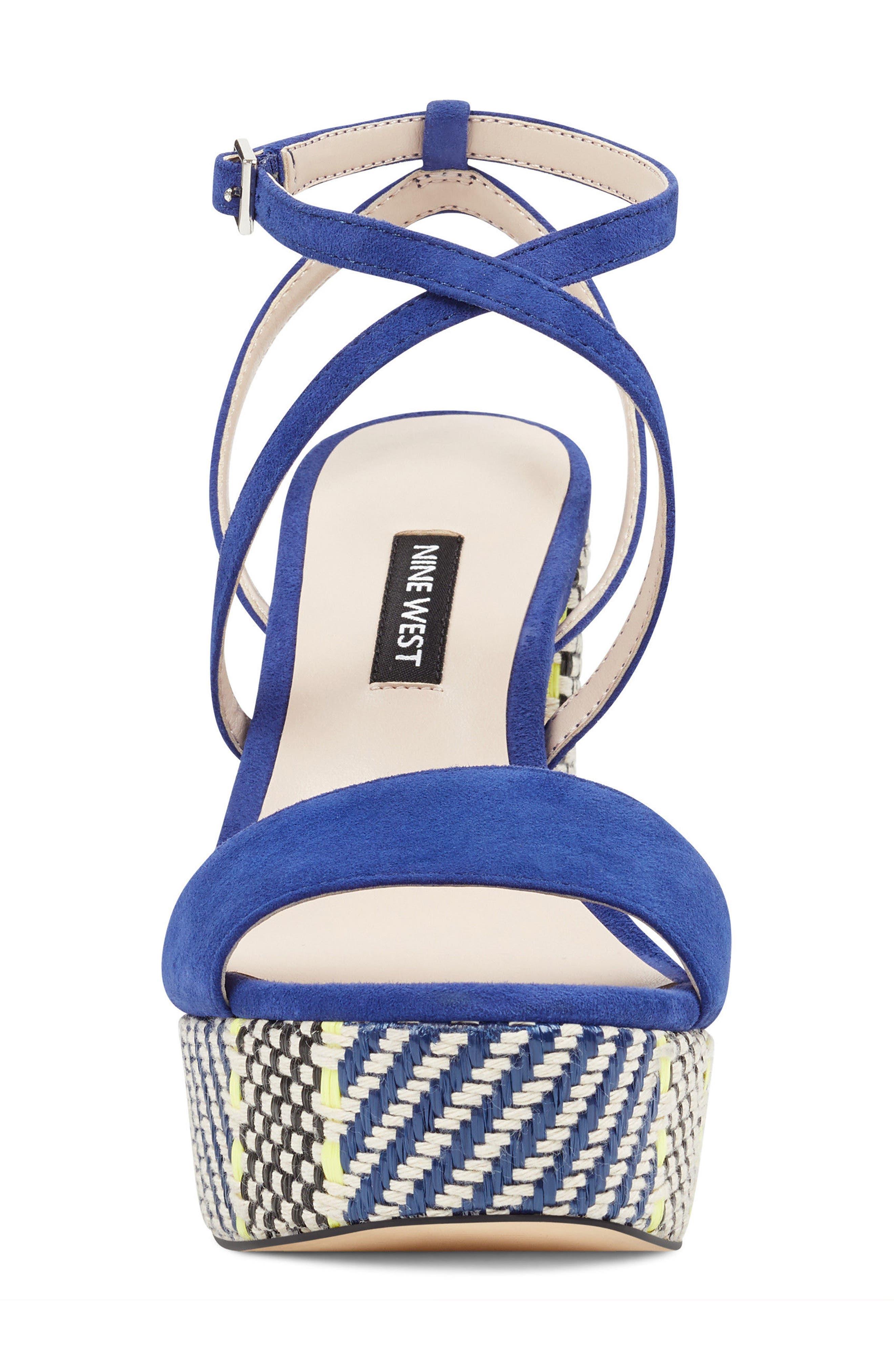 Markando Platform Sandal,                             Alternate thumbnail 4, color,                             Dark Blue Suede