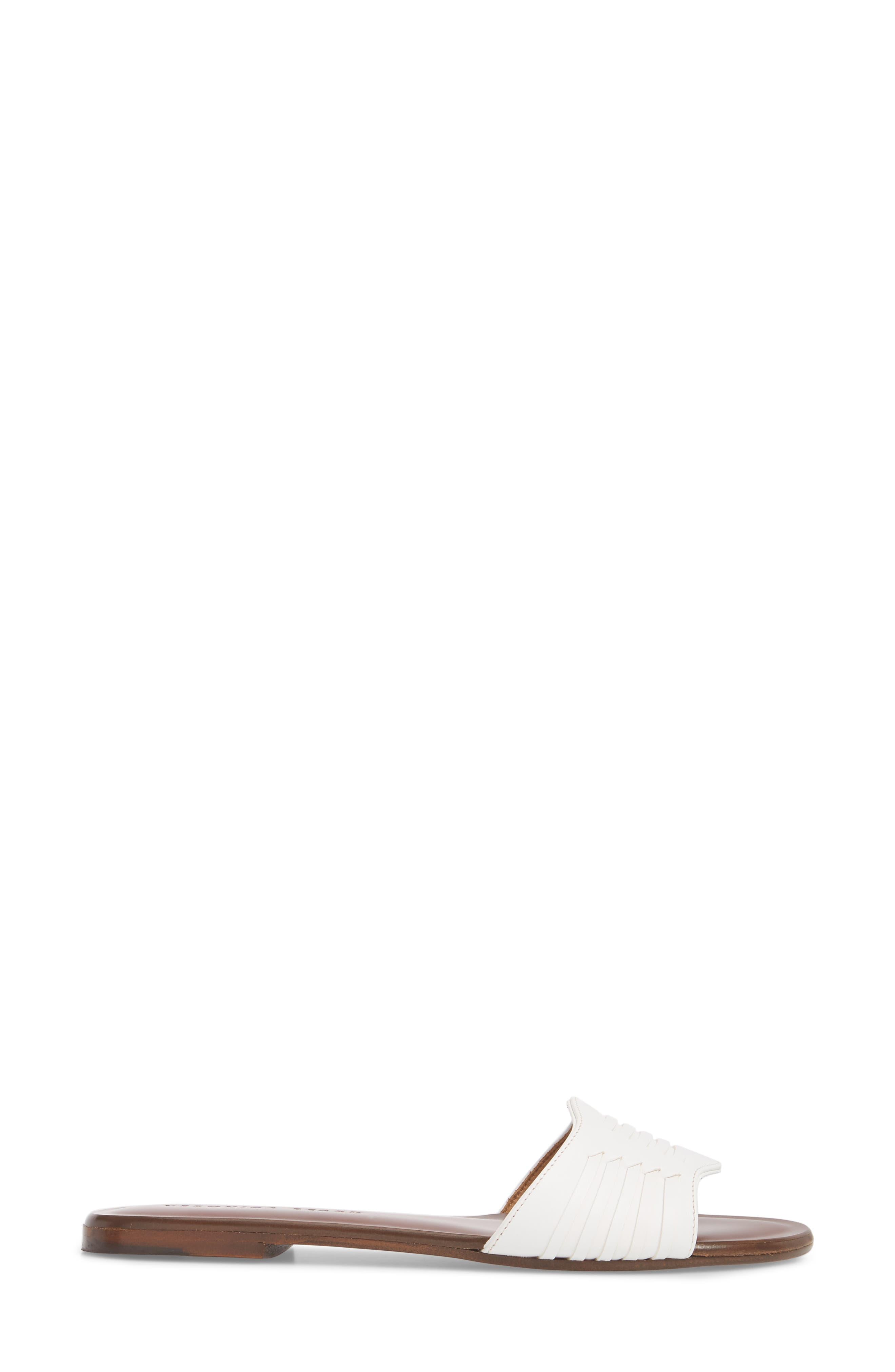 Faven Woven Slide Sandal,                             Alternate thumbnail 3, color,                             White