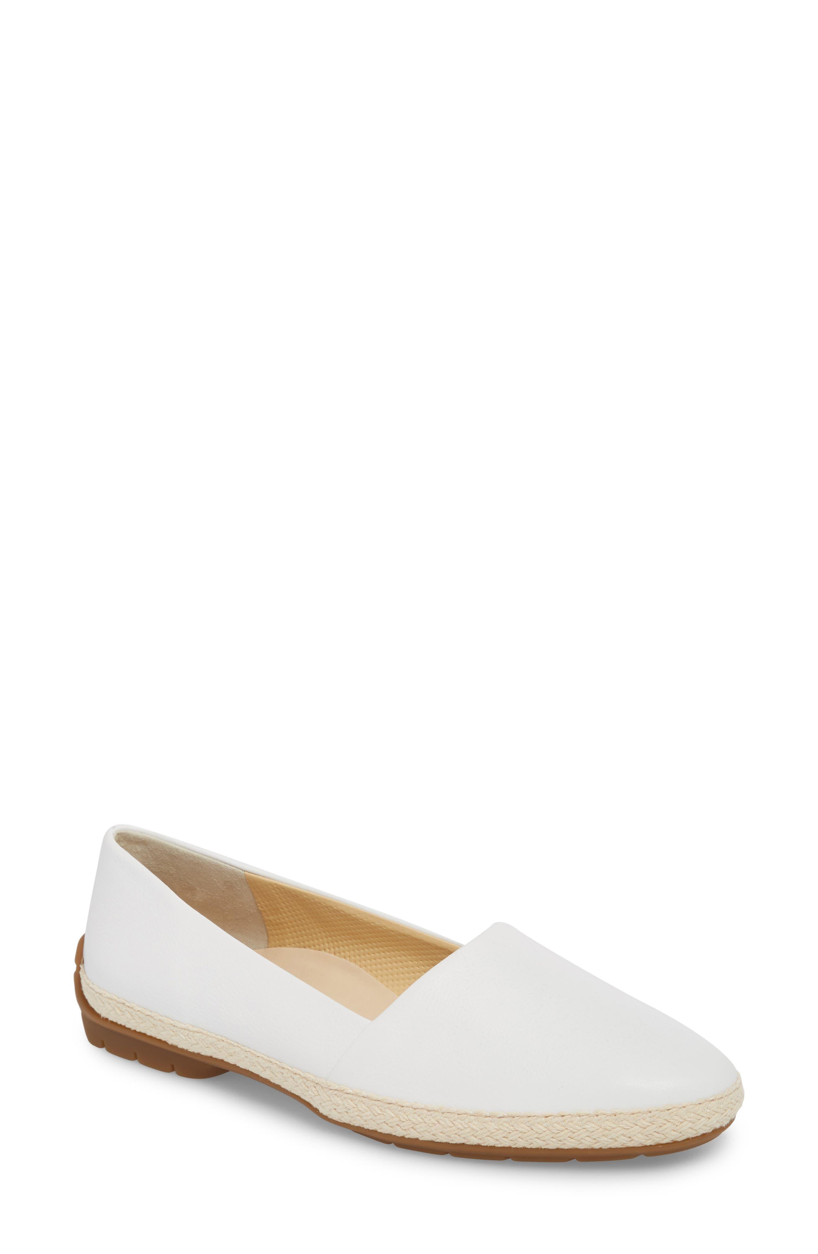 Roxy Espadrille,                             Main thumbnail 1, color,                             White Leather