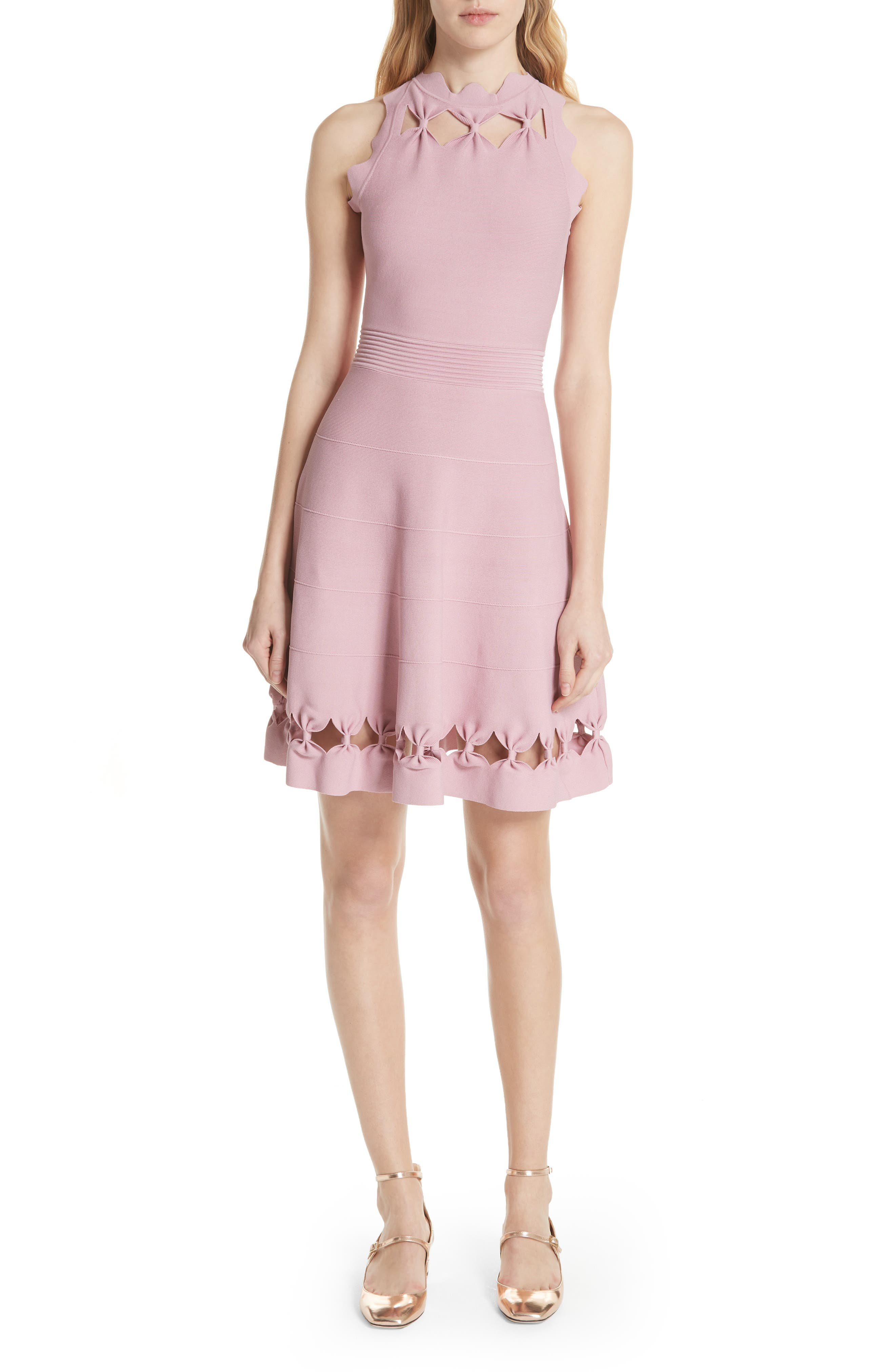 Bow Detail Knit Fit & Flare Dress,                         Main,                         color, Dusky Pink