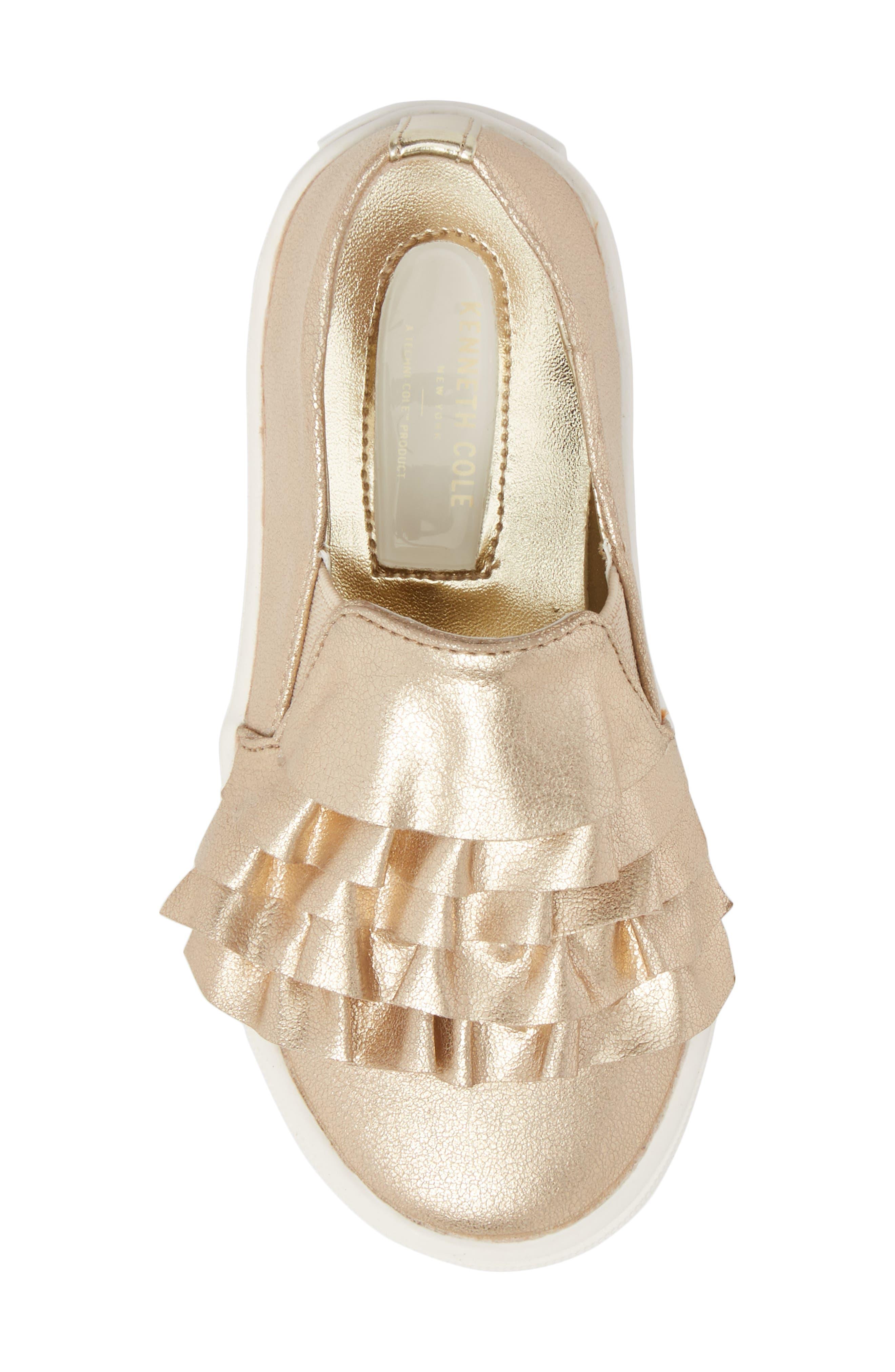Shimmery Kam Ruffle Slip-On Sneaker,                             Alternate thumbnail 5, color,                             Gold