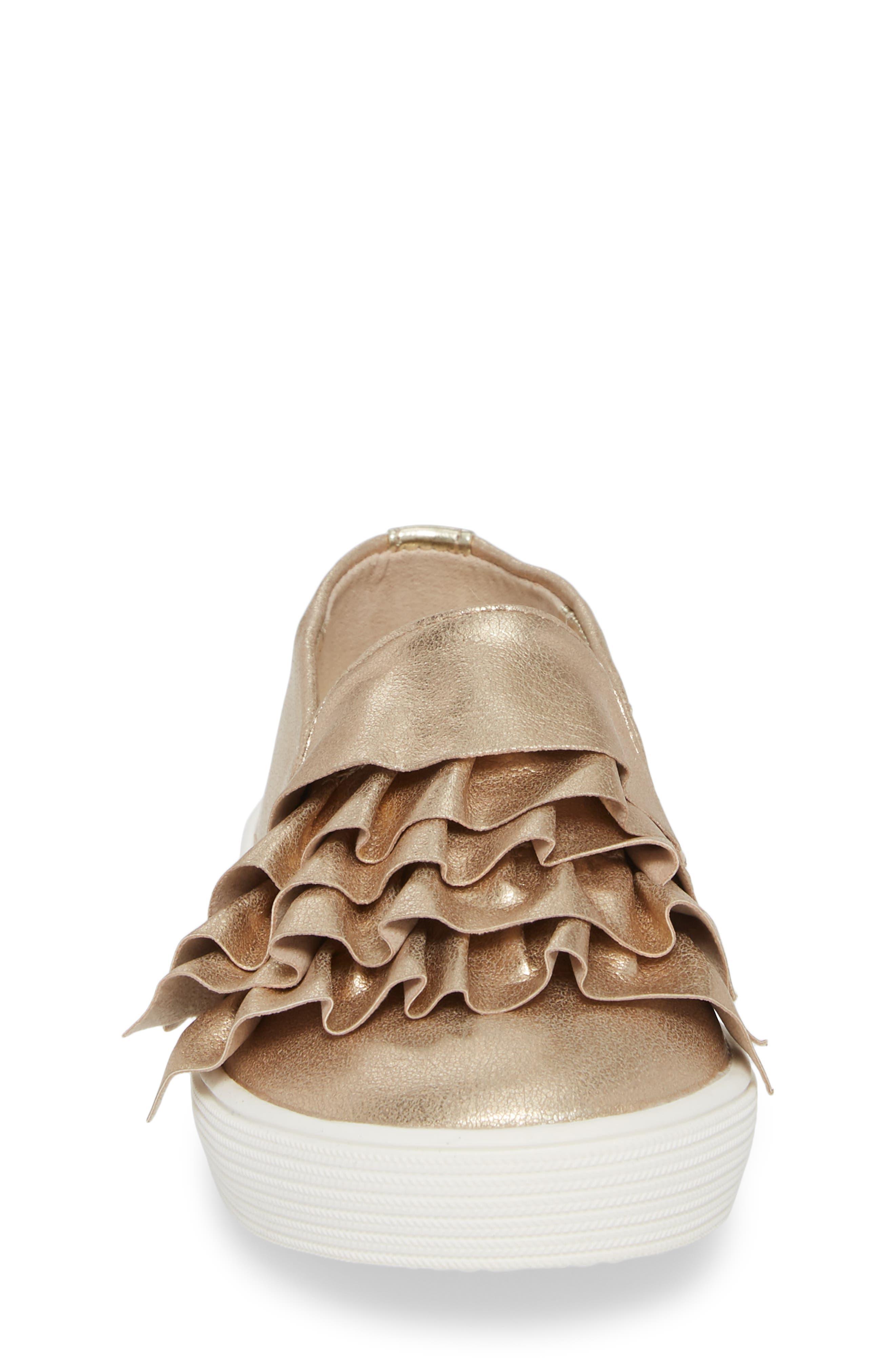 Shimmery Kam Ruffle Slip-On Sneaker,                             Alternate thumbnail 4, color,                             Gold