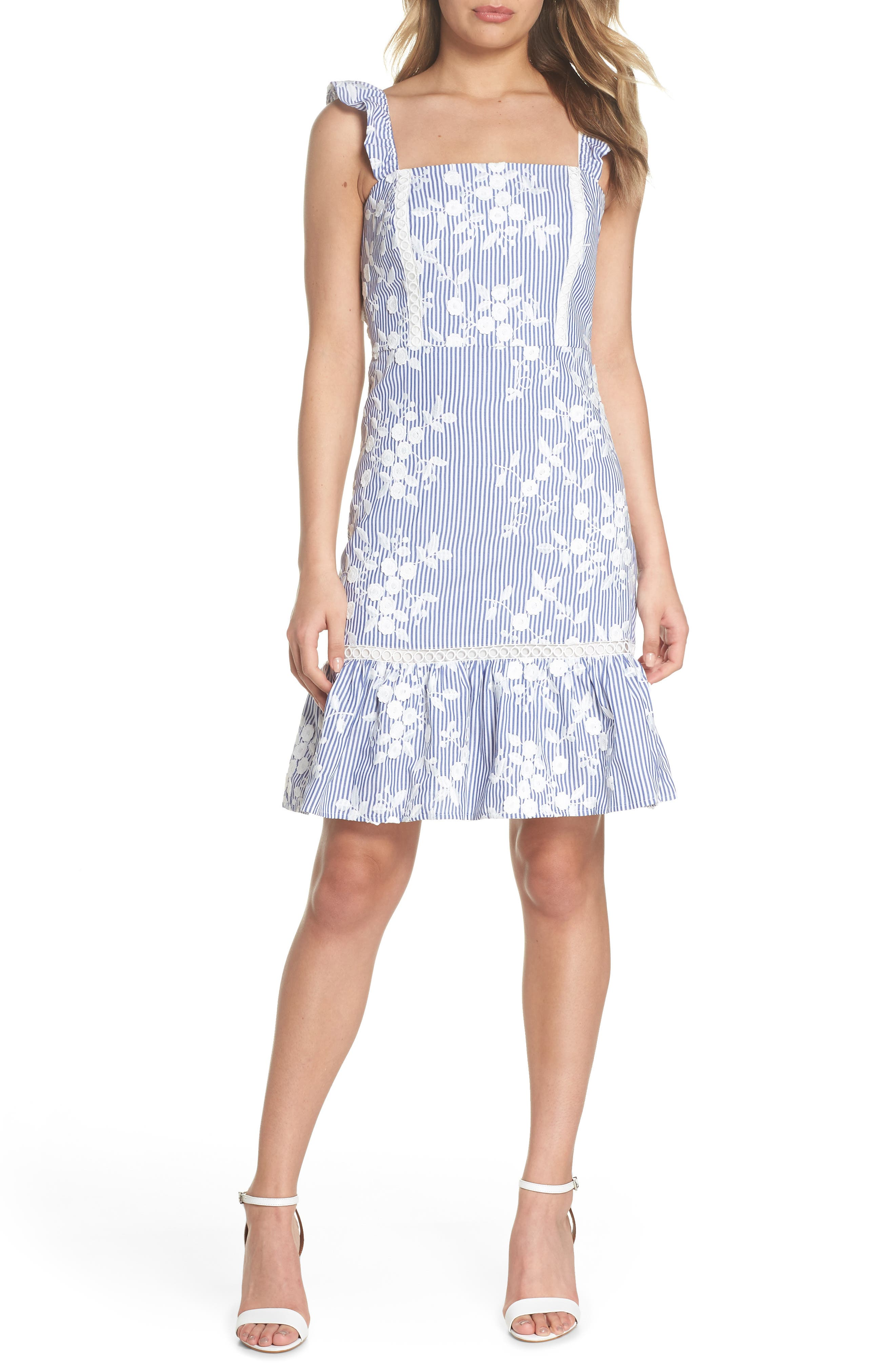 Embroidered Ruffle Hem Sundress,                         Main,                         color, White/ Blue