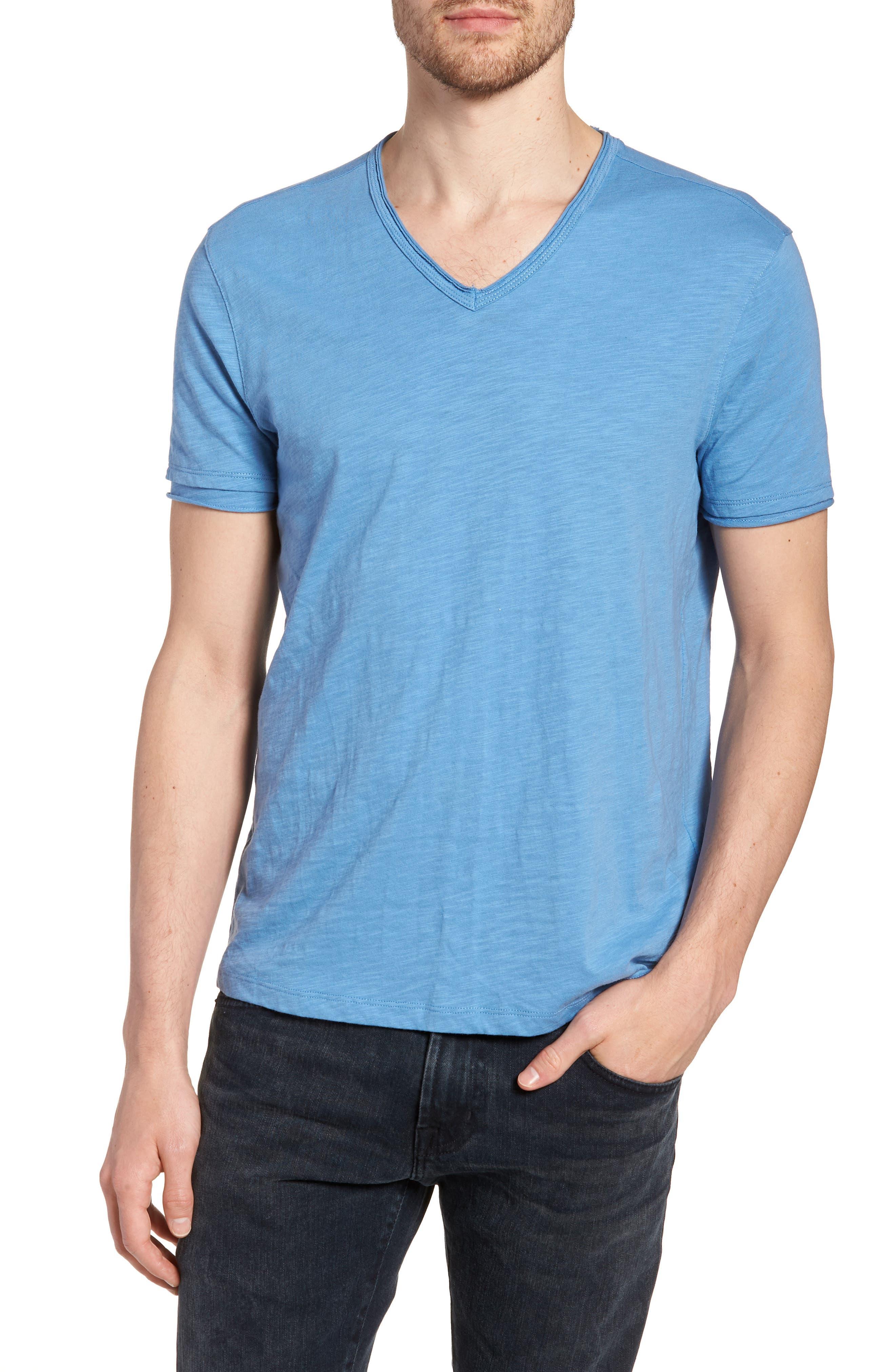 Slim Fit Slubbed V-Neck T-Shirt,                         Main,                         color, Petrol Blue