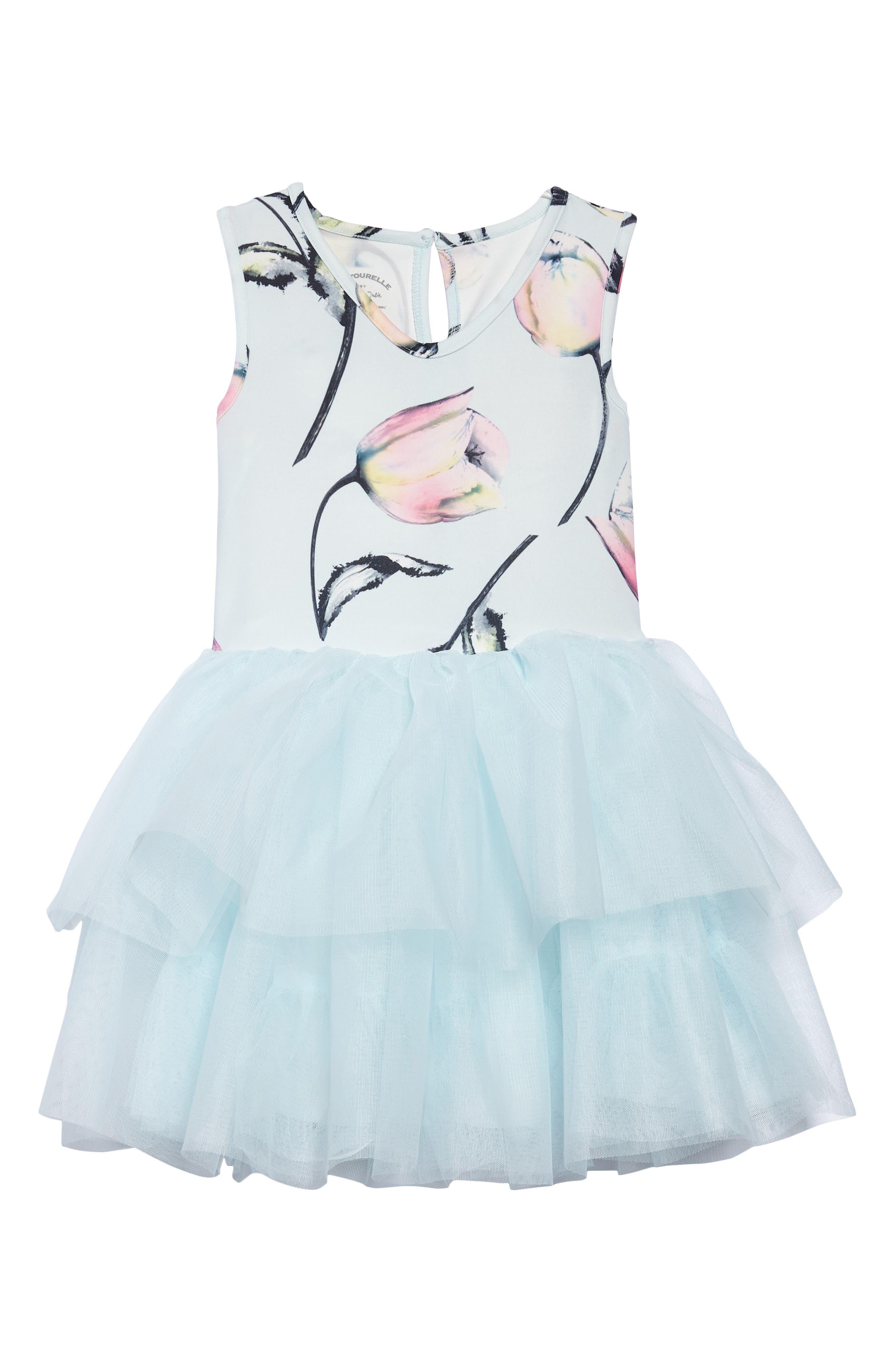 Floral Tutu Dress,                         Main,                         color, Blue