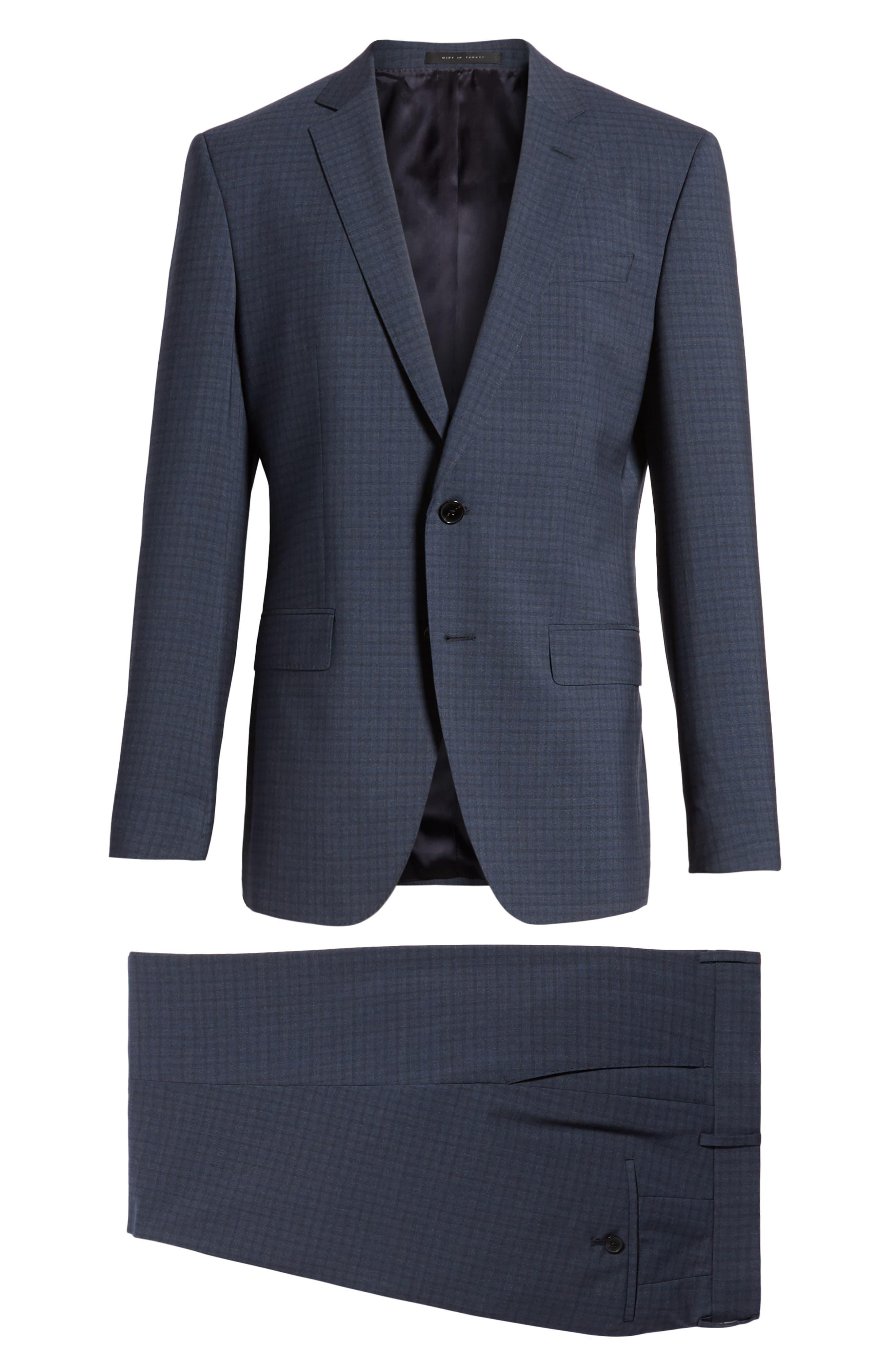 Huge/Genius Trim Fit Check Wool Suit,                             Alternate thumbnail 8, color,                             Blue/ Brown/ Charcoal