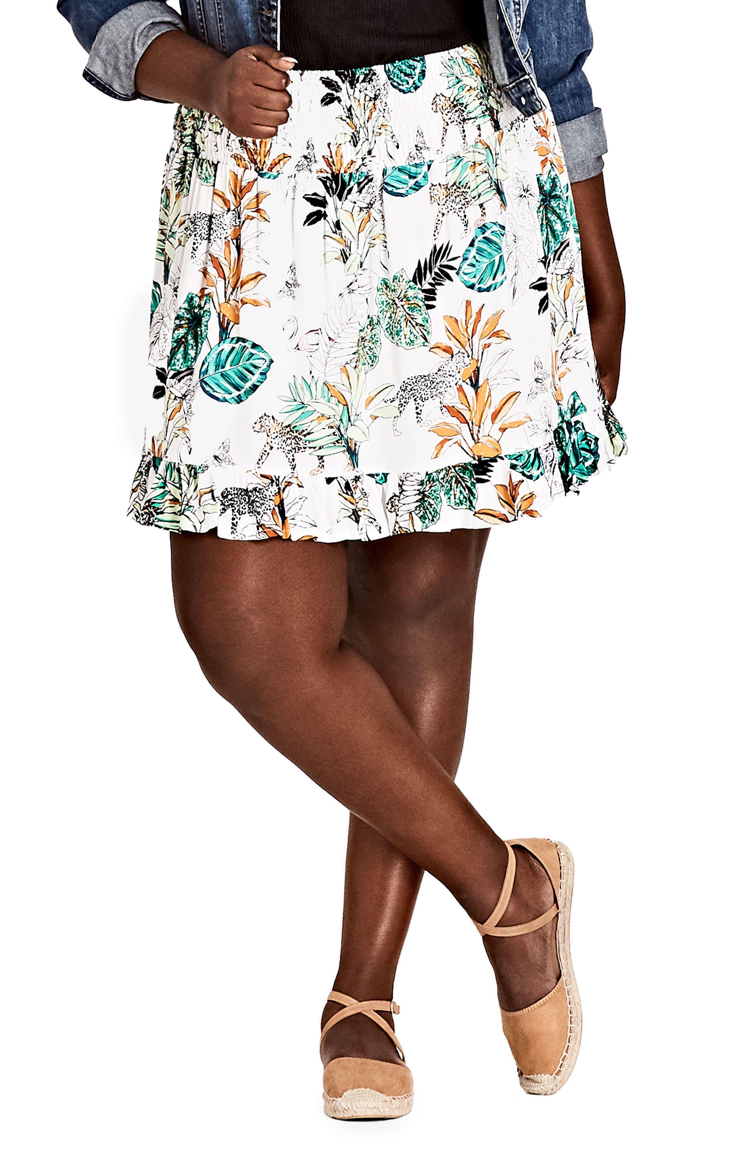 City Chic Jungle Study Skirt (Plus Size)