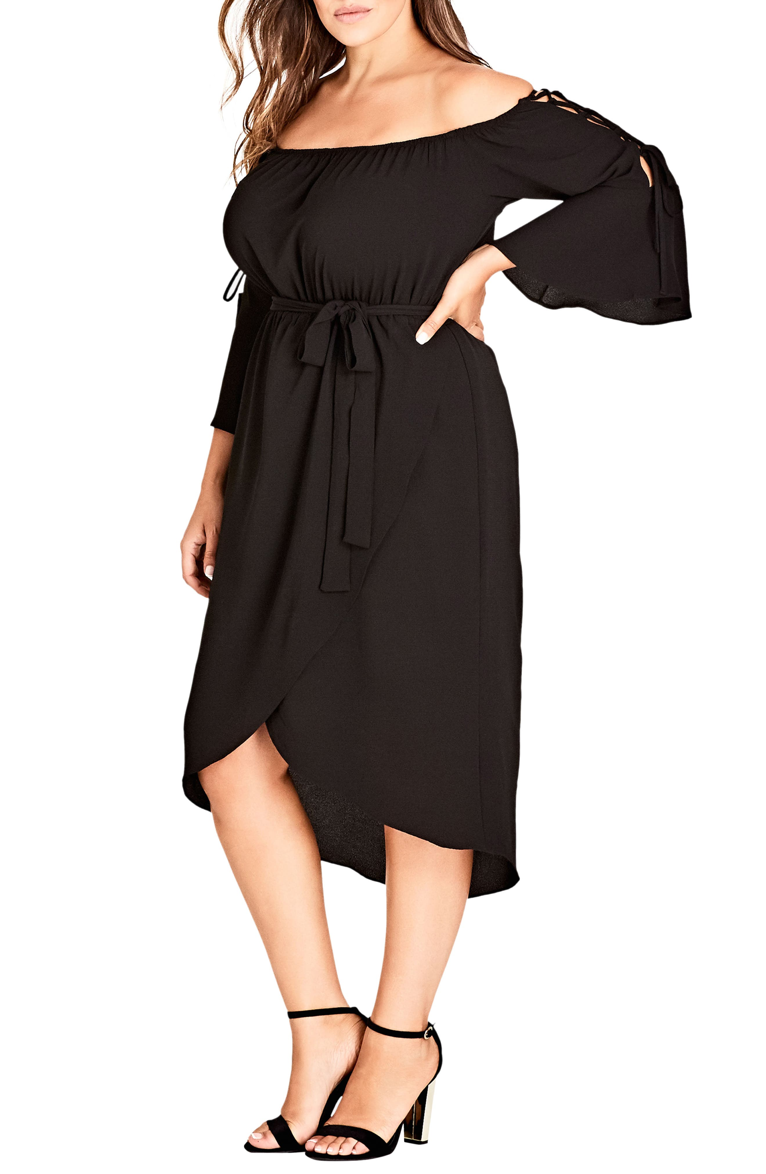 Lace Bell Sleeve Off the Shoulder Midi Dress,                         Main,                         color, Black