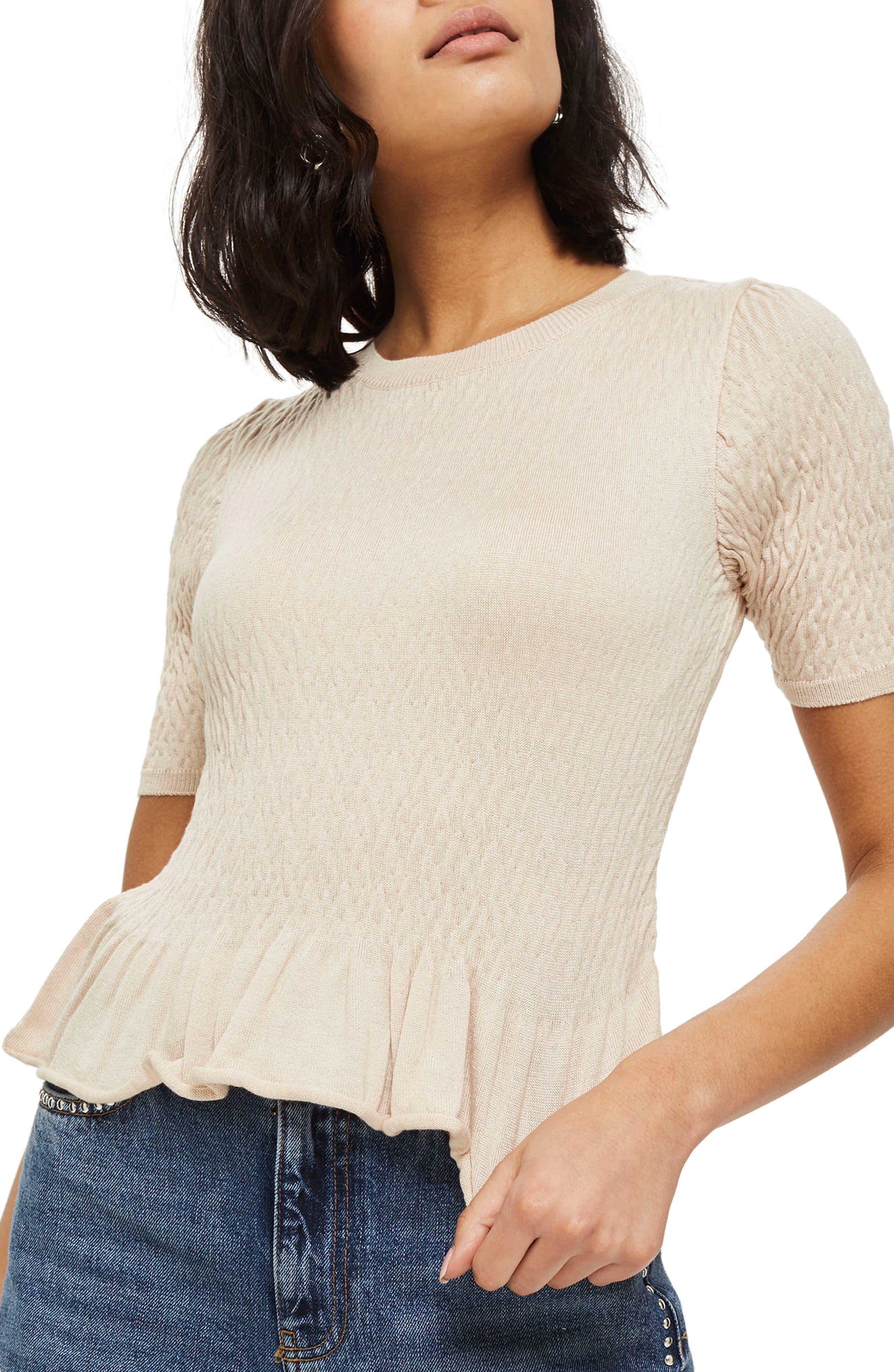 Shirred T-Shirt,                         Main,                         color, Nude