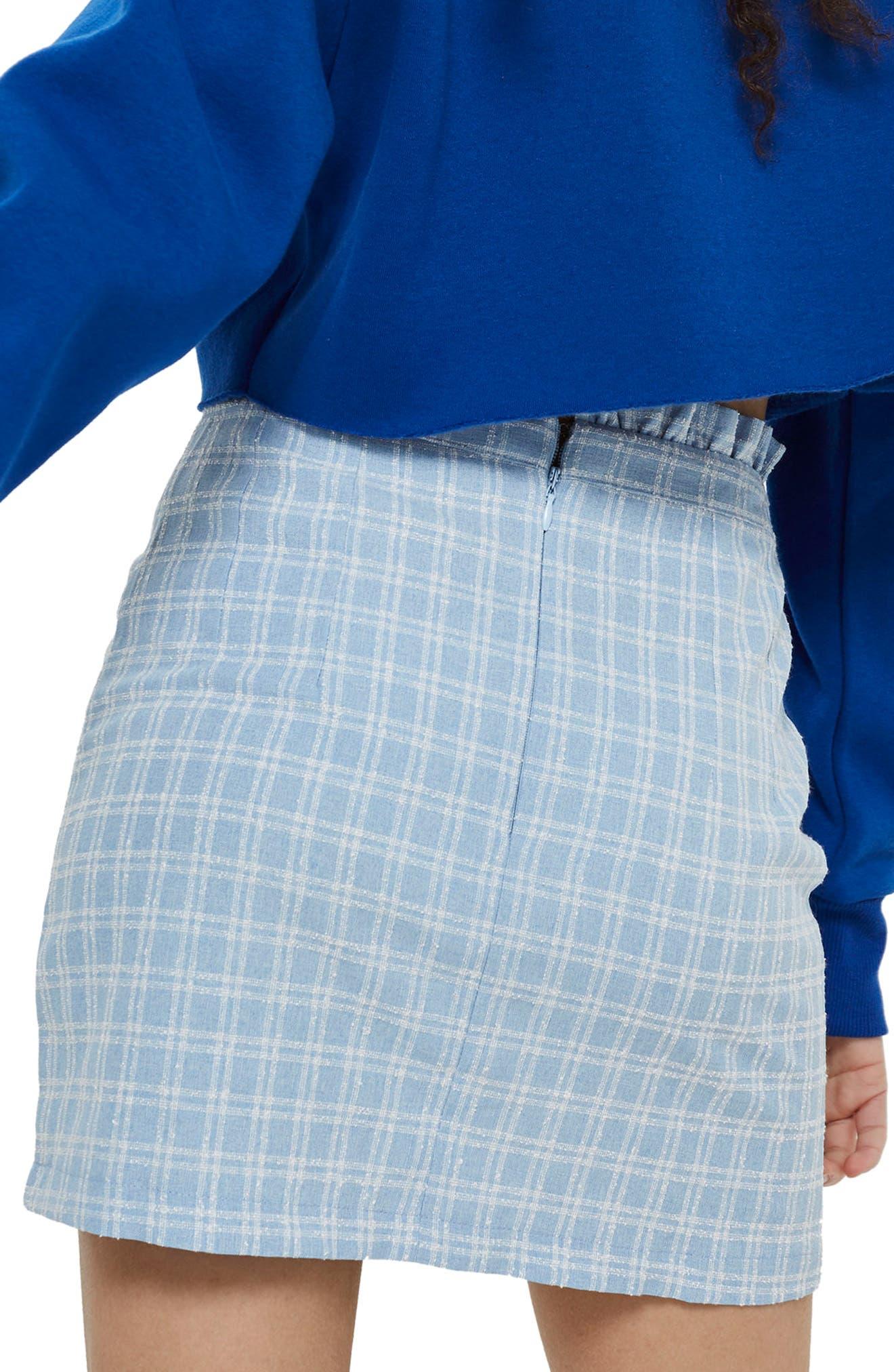 Check Bouclé Frill Miniskirt,                             Alternate thumbnail 2, color,                             Light Blue Multi